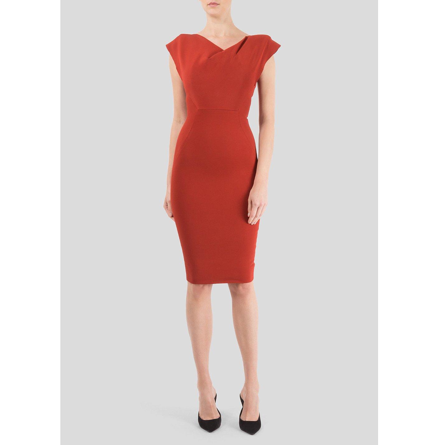 Victoria Beckham Fitted Fold Neck Dress