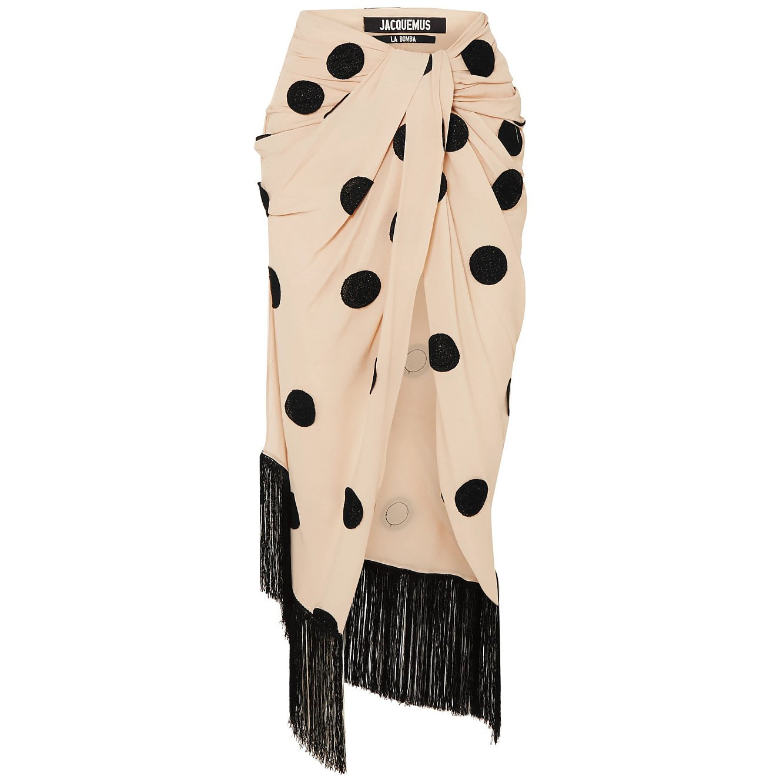 Jacquemus Fringed Appliquéd Crepe Midi Skirt