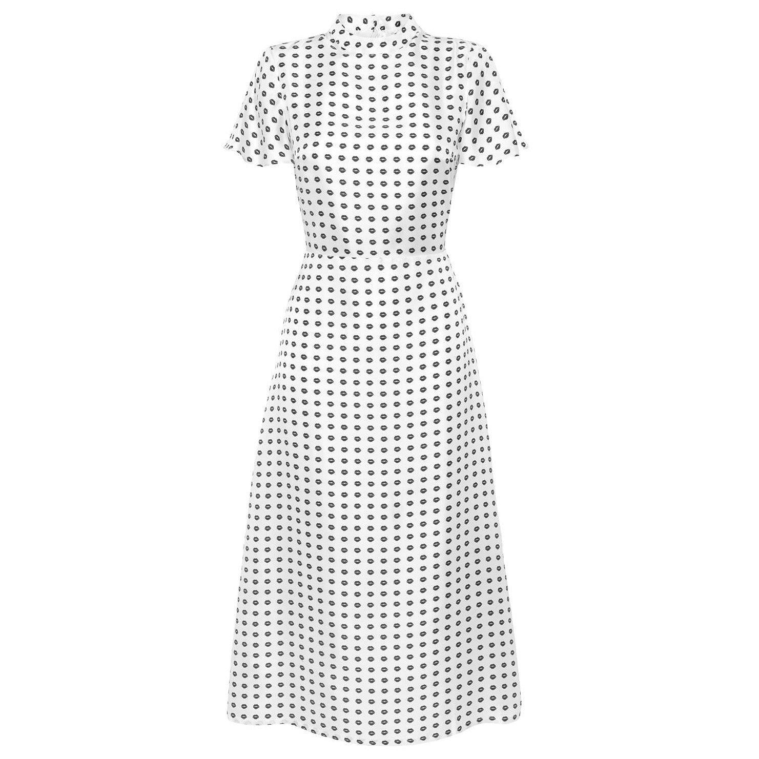 Lisou Mila Black Lip Print Midi Dress