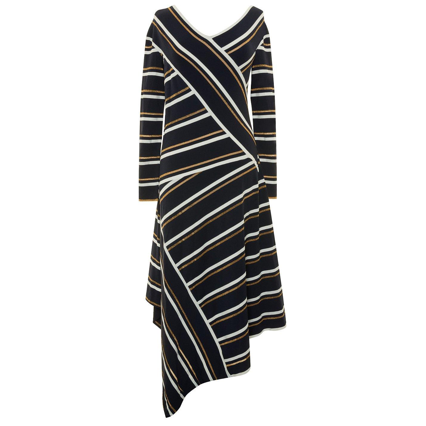 Cedric Charlier Asymmetric Striped Metallic Knitted Midi Dress