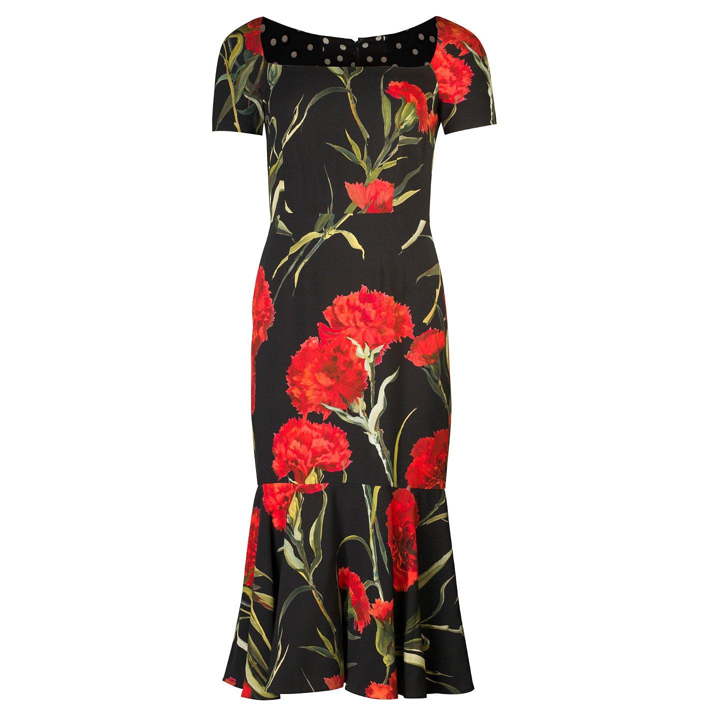 DOLCE & GABBANA Carnation-Print Midi Dress