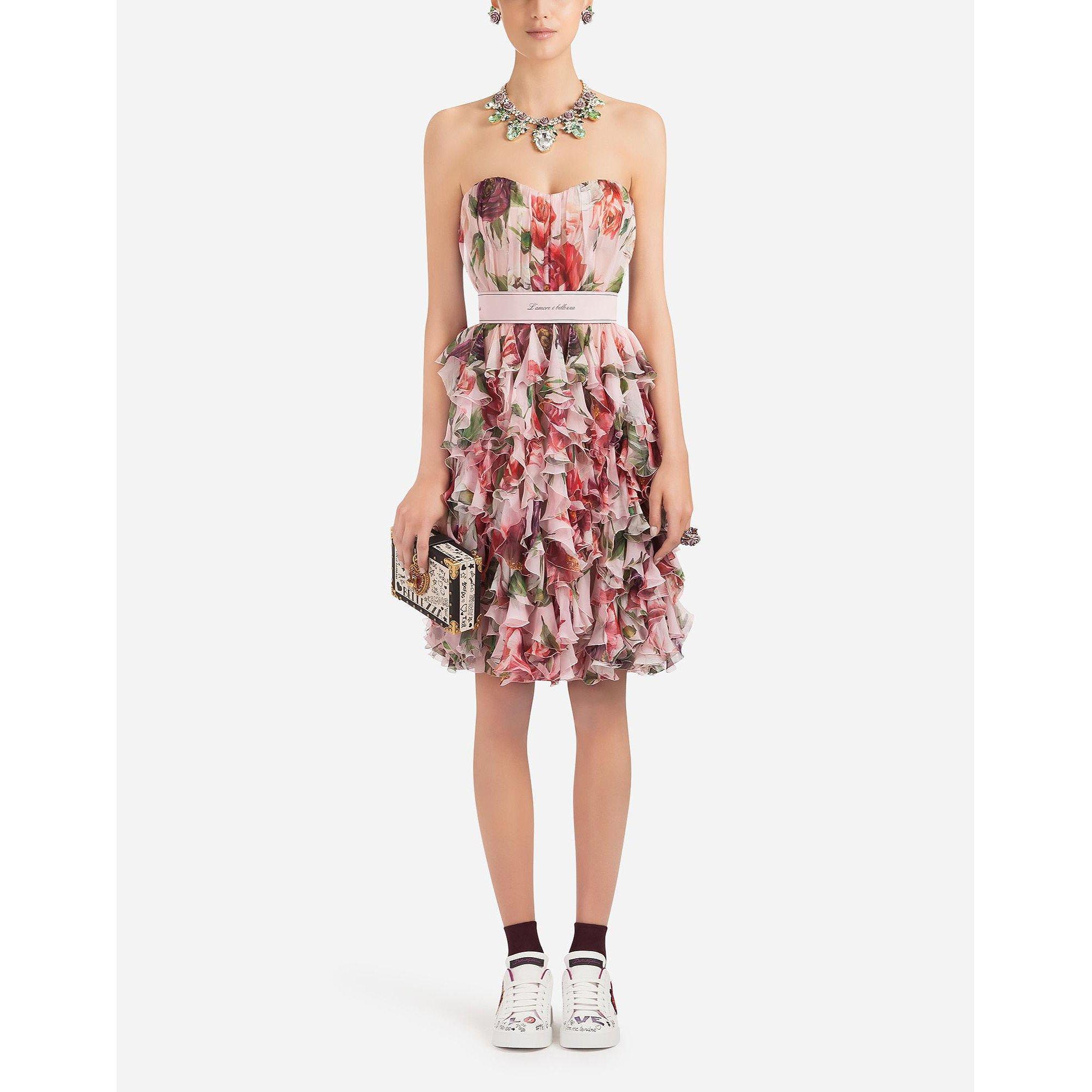 DOLCE & GABBANA Peony-Print Strapless Silk-Chiffon Dress