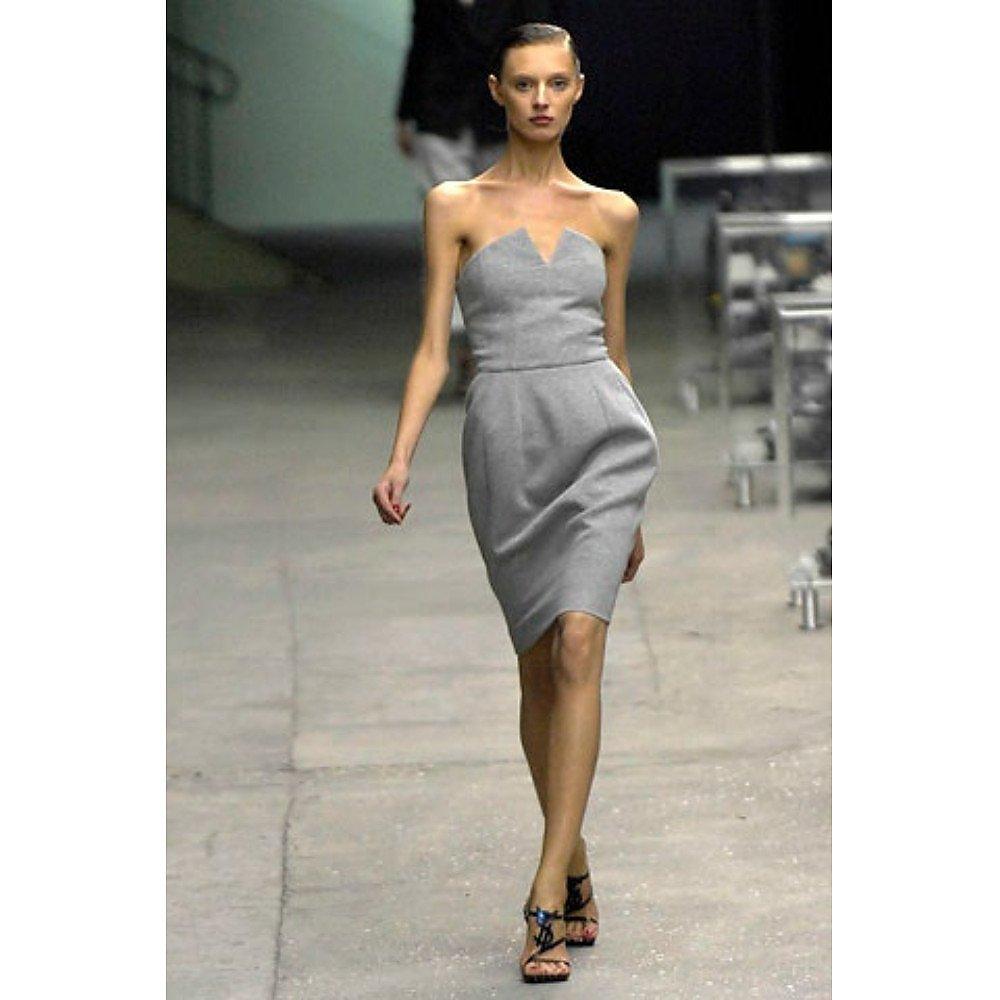 Yves Saint Laurent Cotton Strapless Cocktail Dress