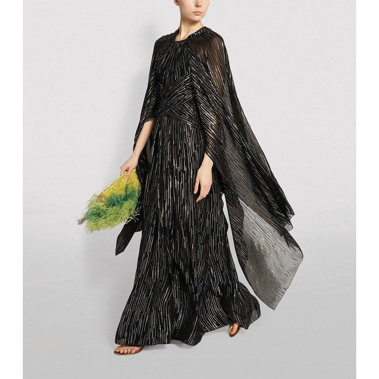 Peter Pilotto Caped Silk-Lurex Gown