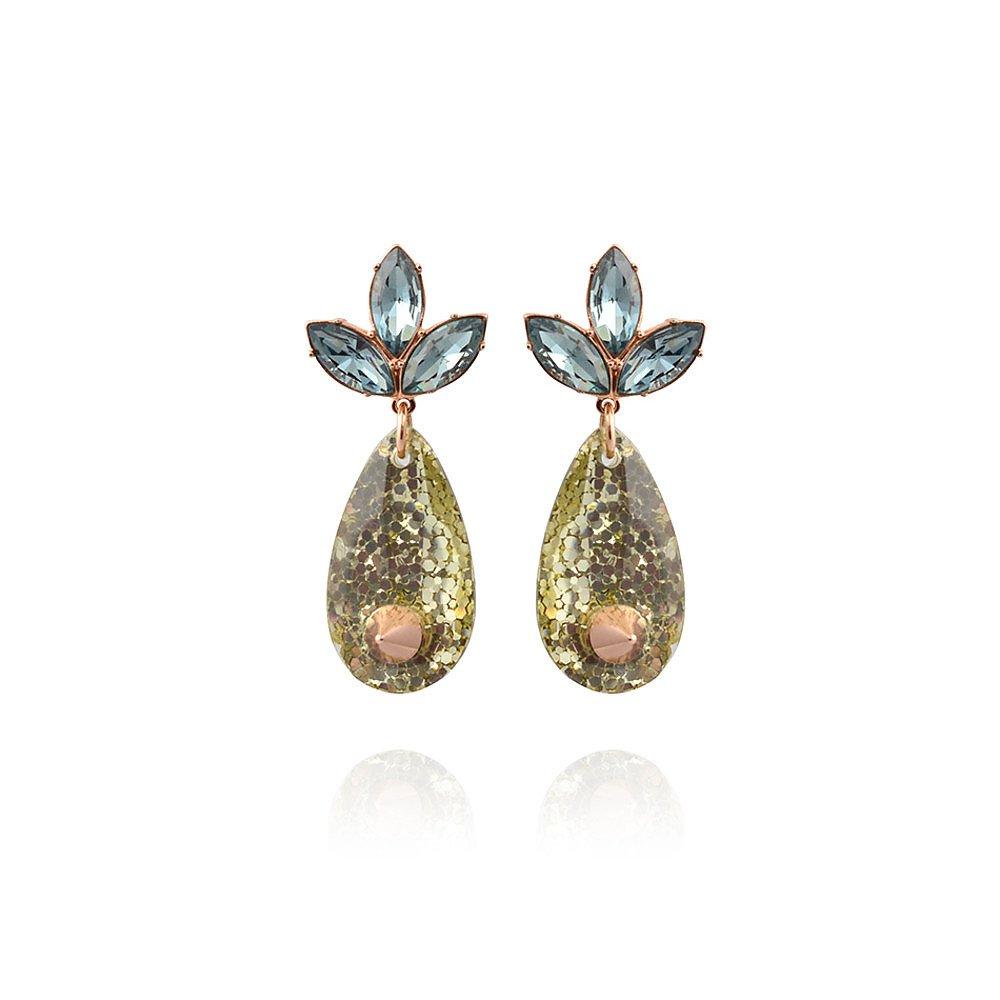 Mawi Spiked Glitter Crystal Leaf Earrings