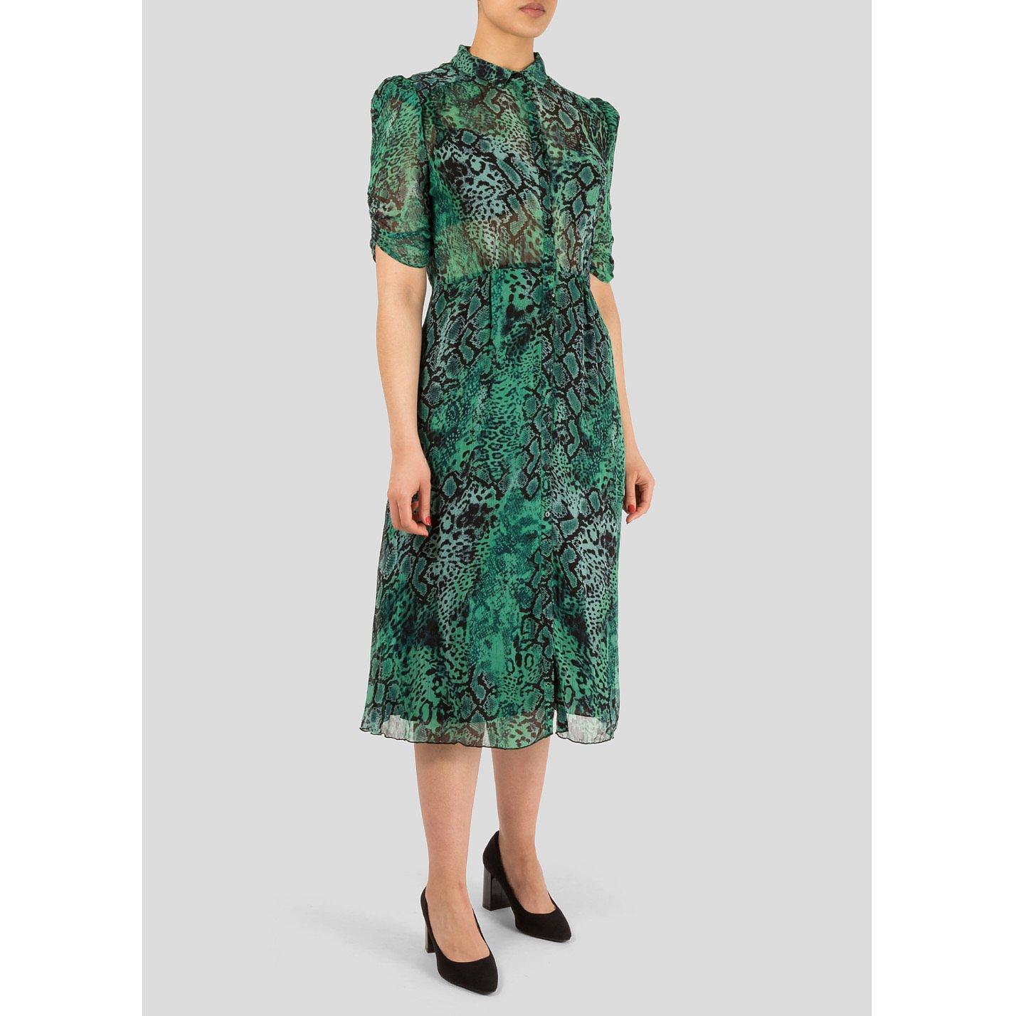 BA&SH Rozy Snakeskin-Print Chiffon Dress