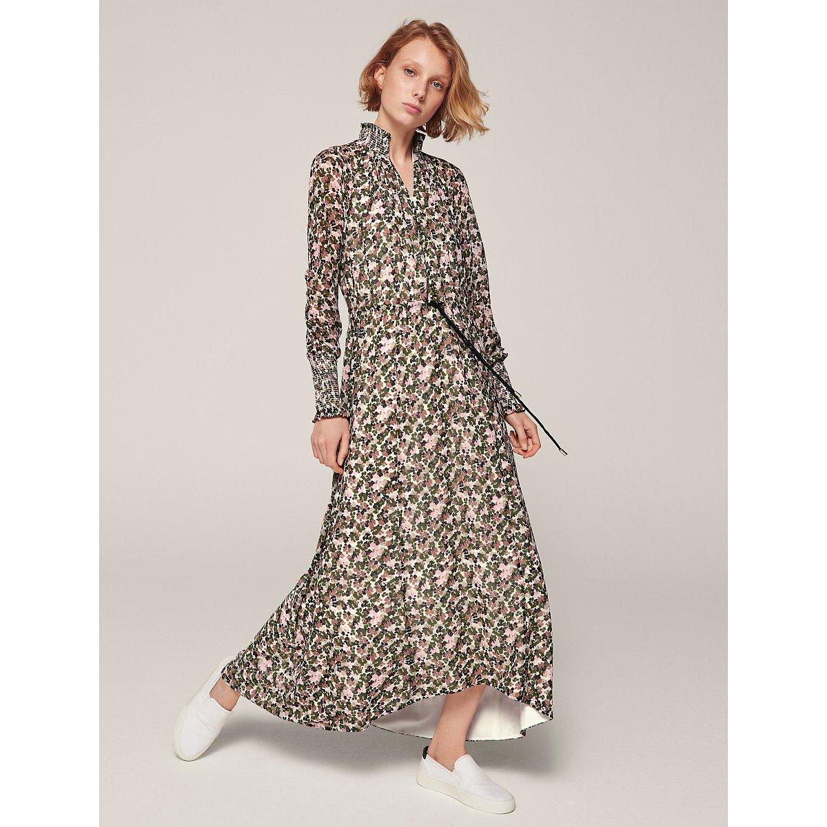 ME+EM Brush Stroke Floral Print Maxi Dress