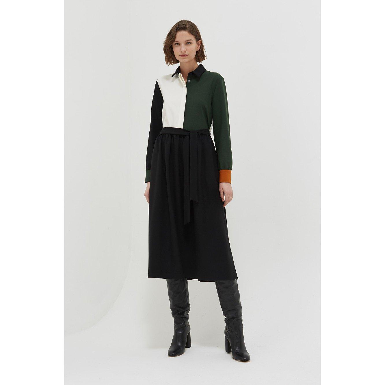 Chinti and Parker Colour-Block Wool Twill Shirt Dress