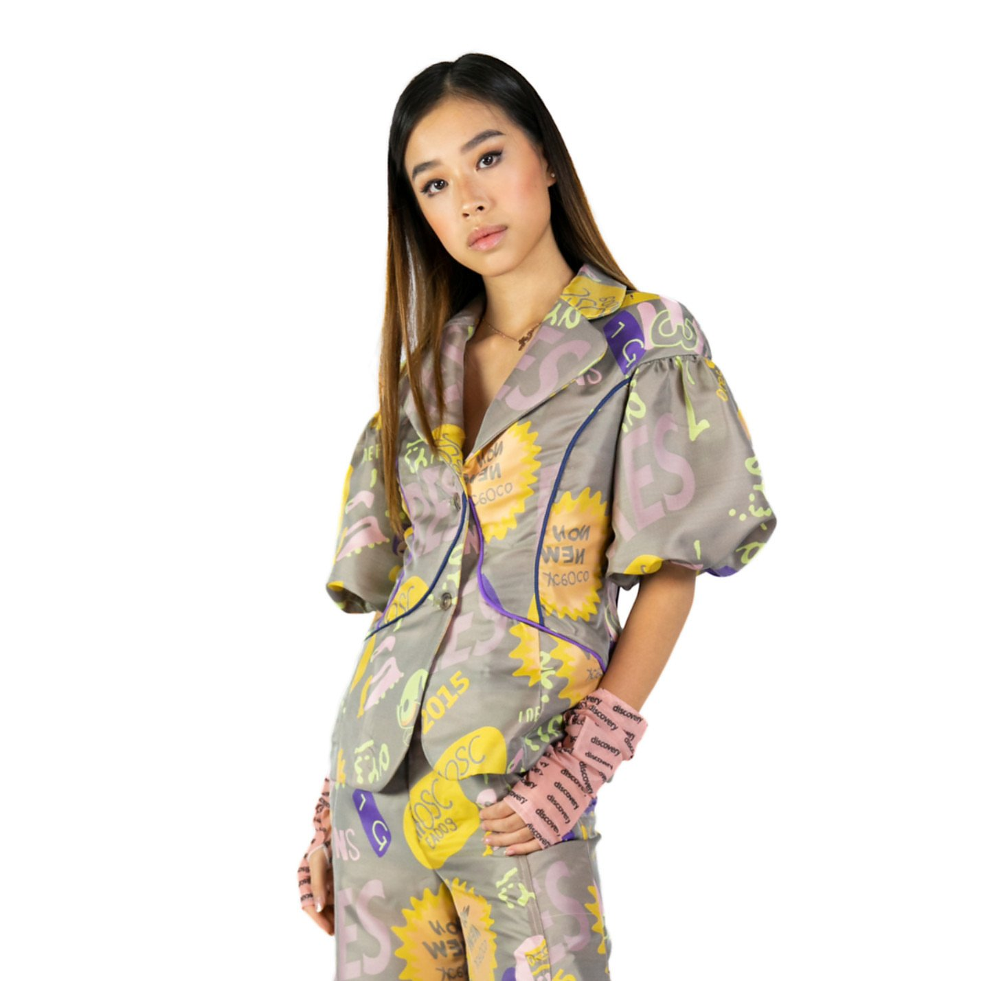 Syra J Puffed Sleeve Abstract Blazer