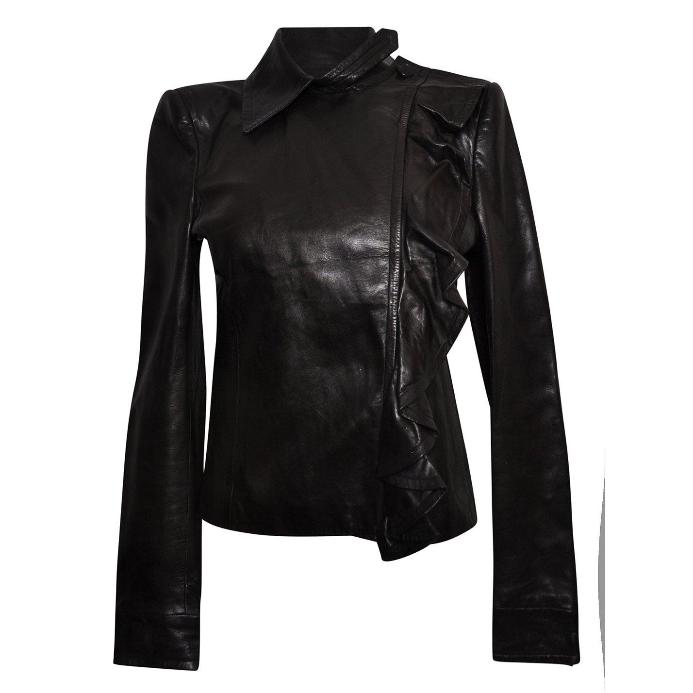 Yves Saint Laurent Leather Ruffle Jacket