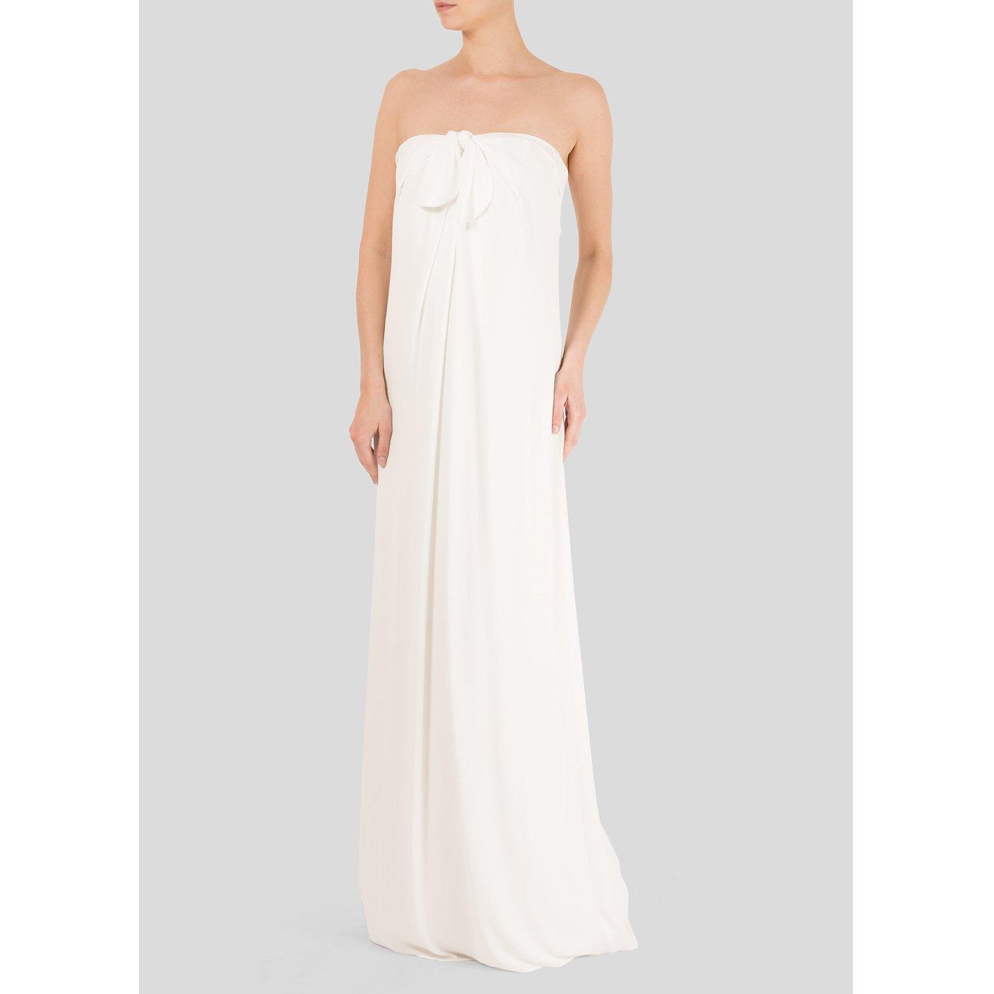 Halston Heritage Strapless Georgette Maxi Dress