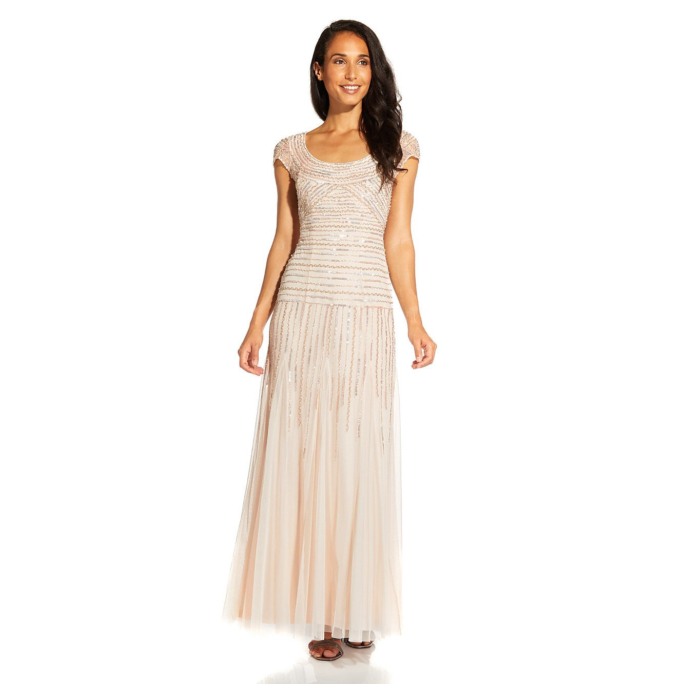 Adrianna Papell Beaded Gown With Godets