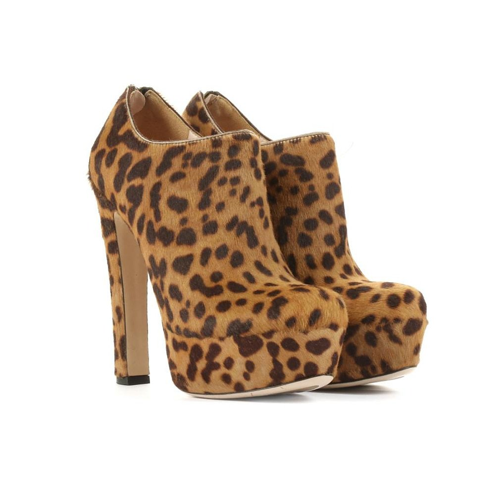Miu Miu Leopard Pony Skin Ankle Booties