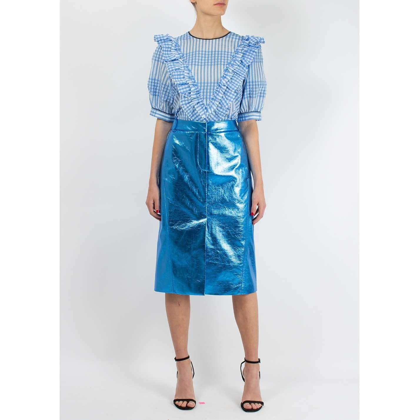 Tibi High Waist Metallic Skirt