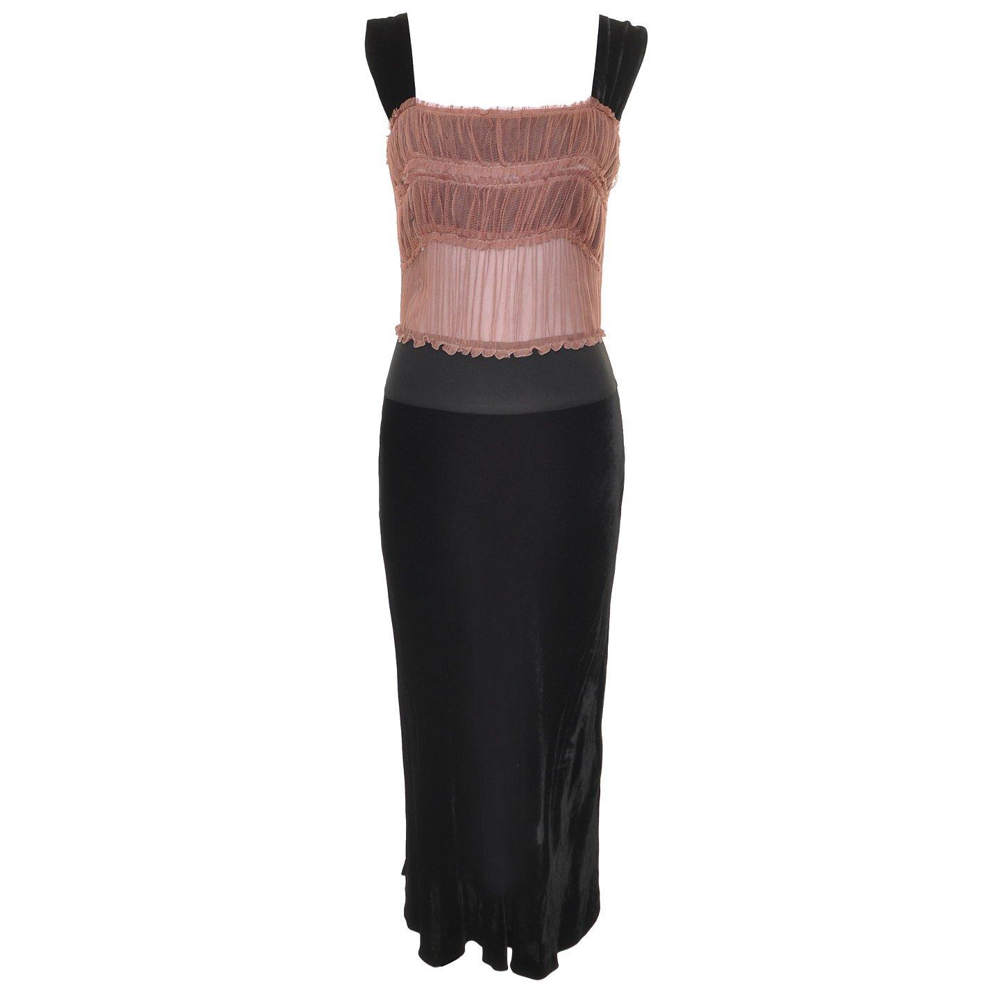 Jean Paul Gaultier Chiffon & Velvet Midi Dress
