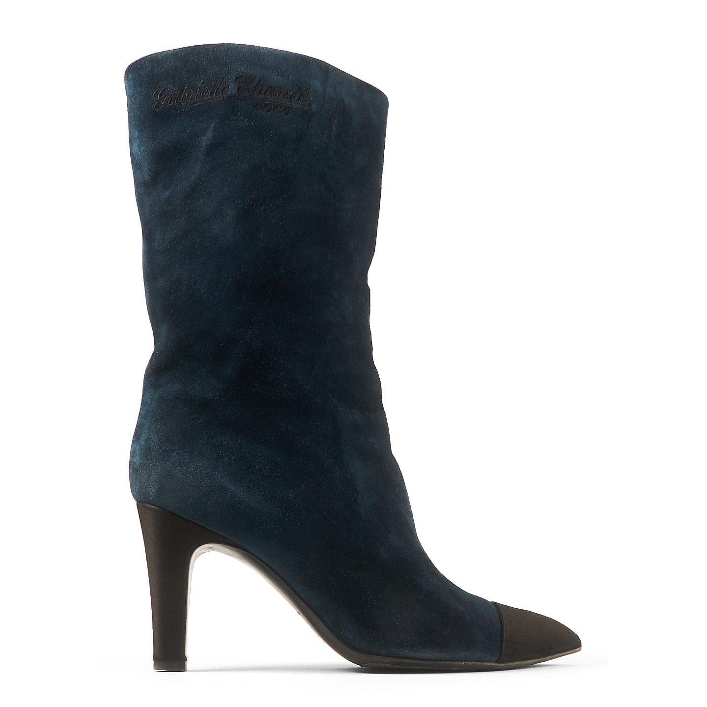 CHANEL Suede High Heel Boots