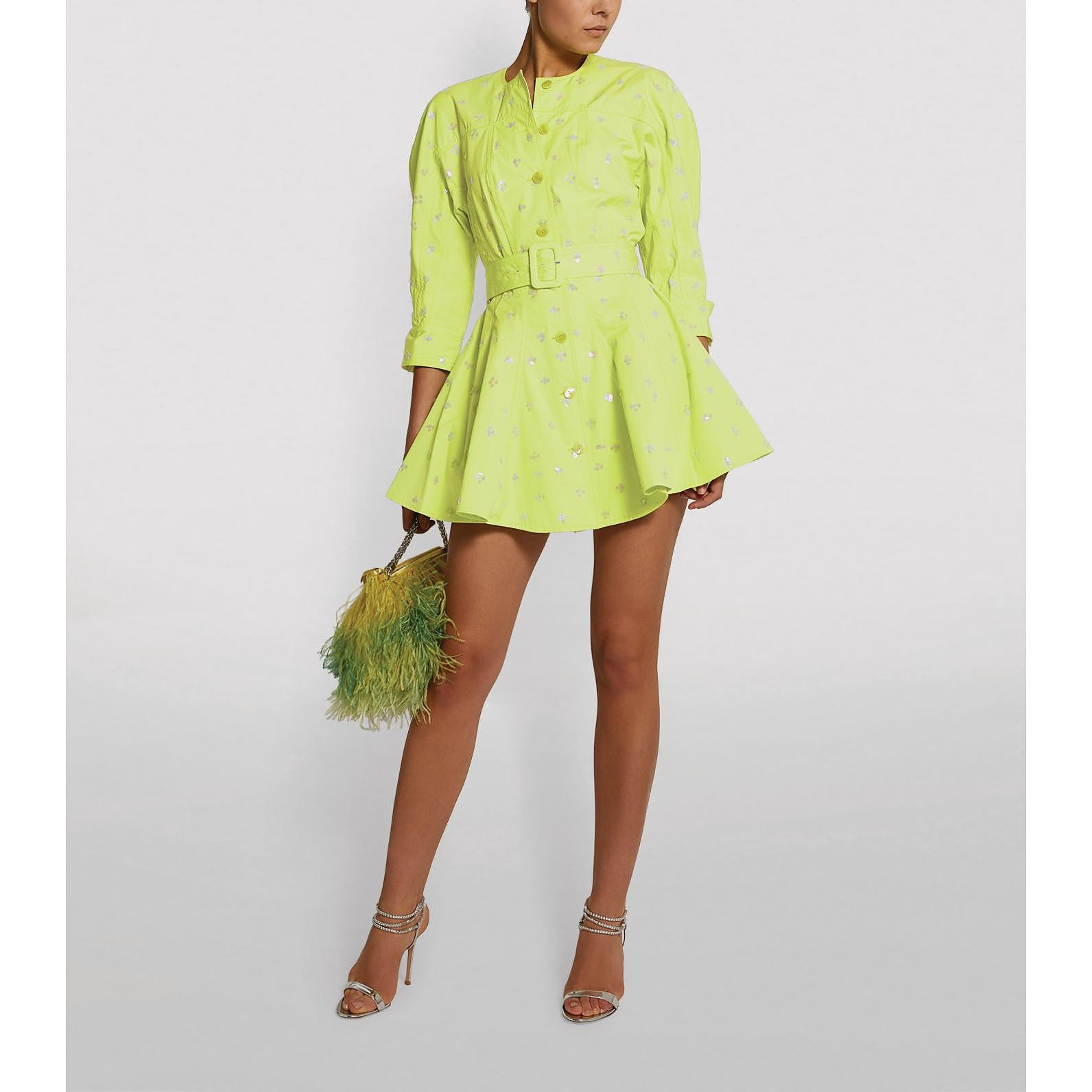 The Attico Sequin-Embellished Shirt Dress