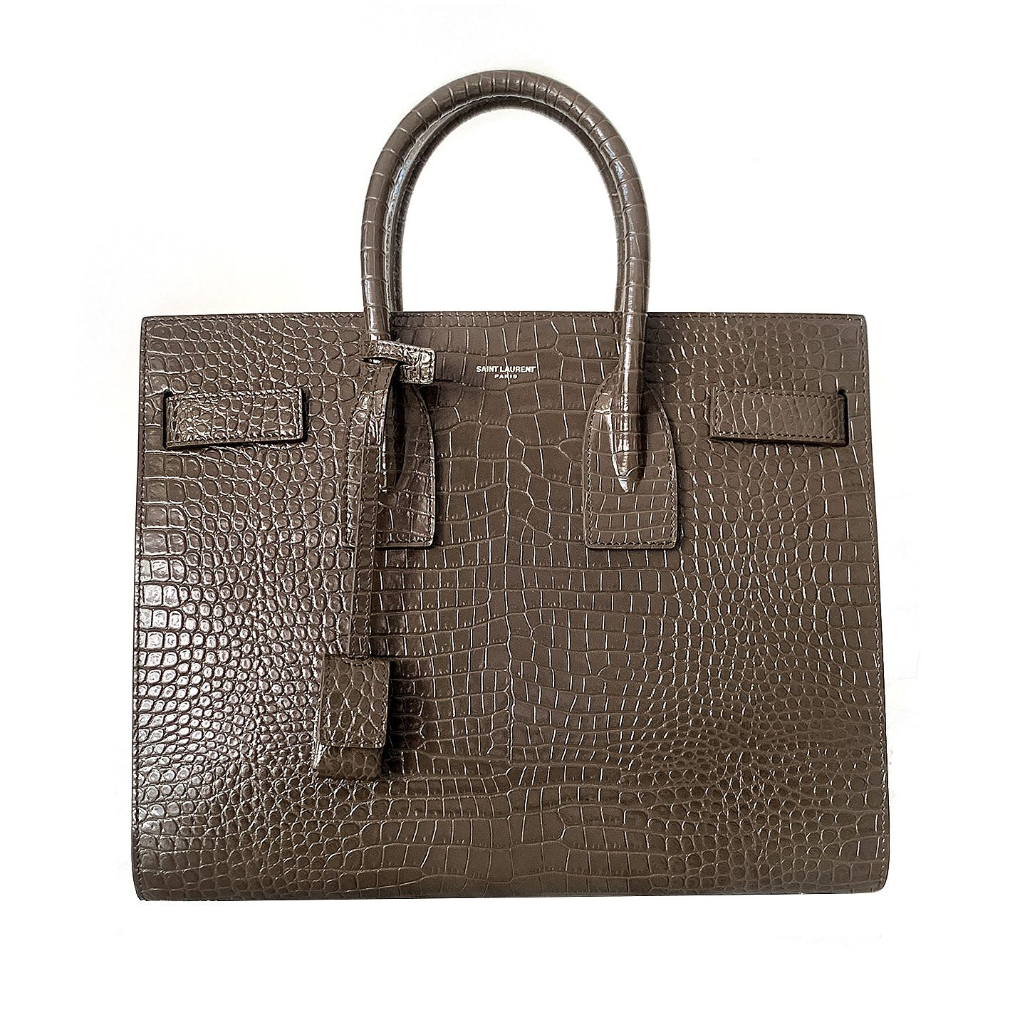 Saint Laurent Sac De Jour Small Croc-Effect Bag