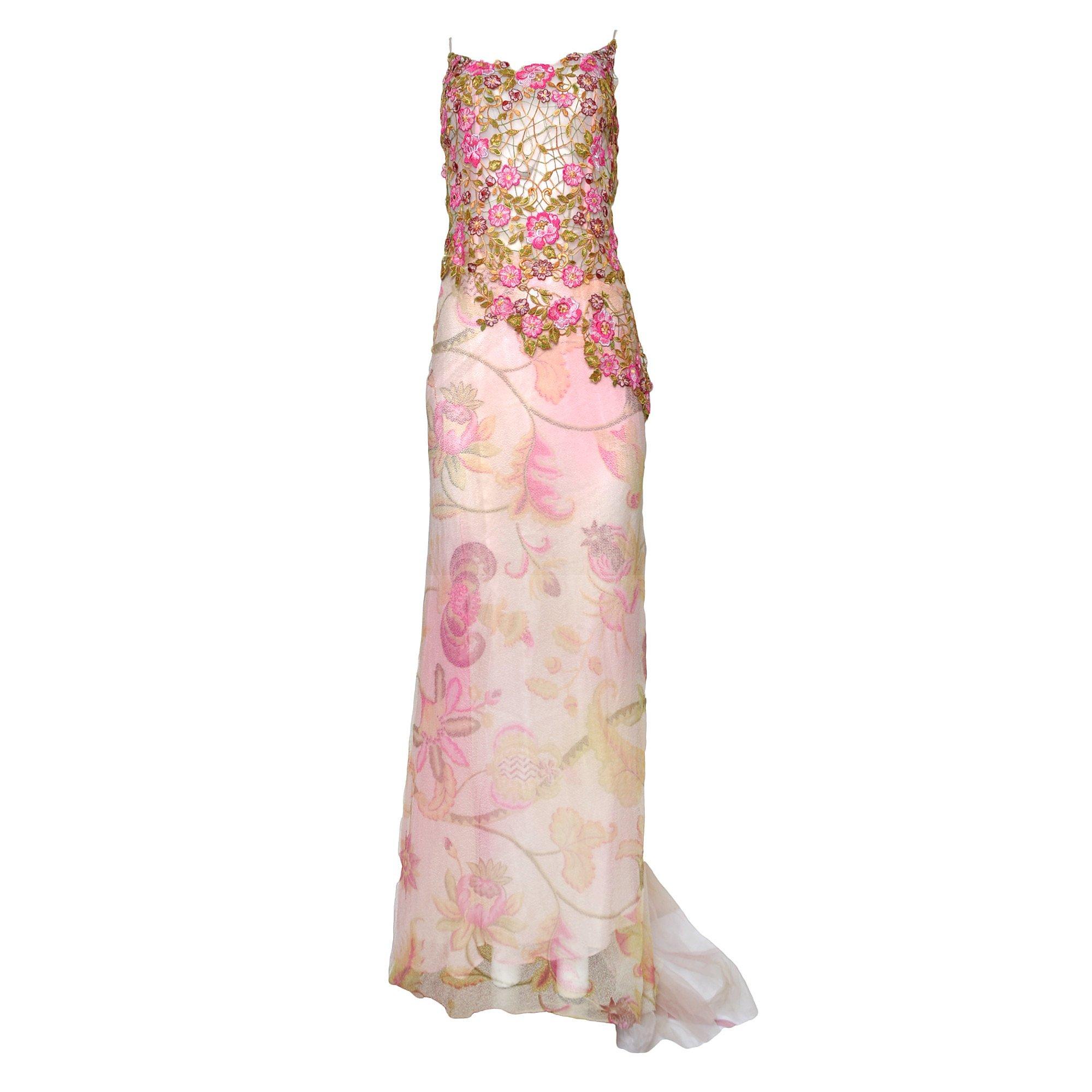 Boutique Floral-Appliqué Tulle Dress