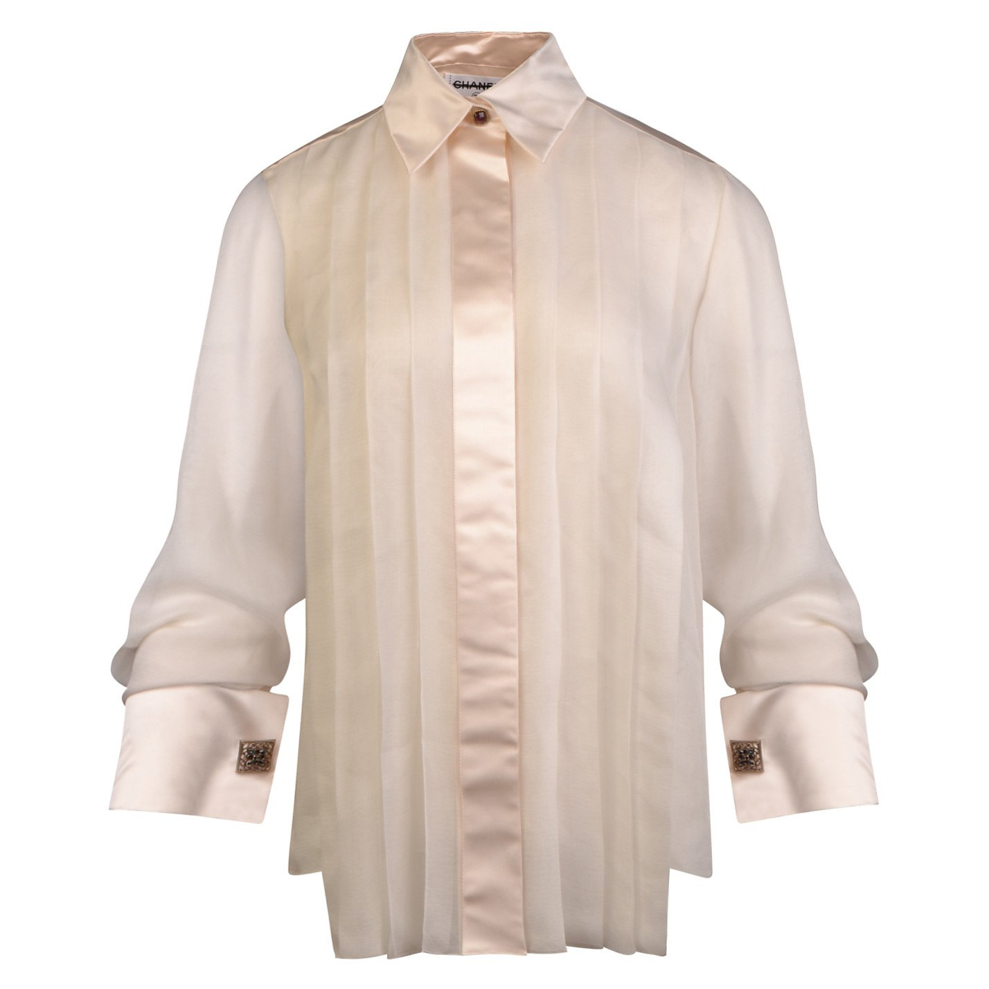 CHANEL Pleated Satin-Trimmed Shirt