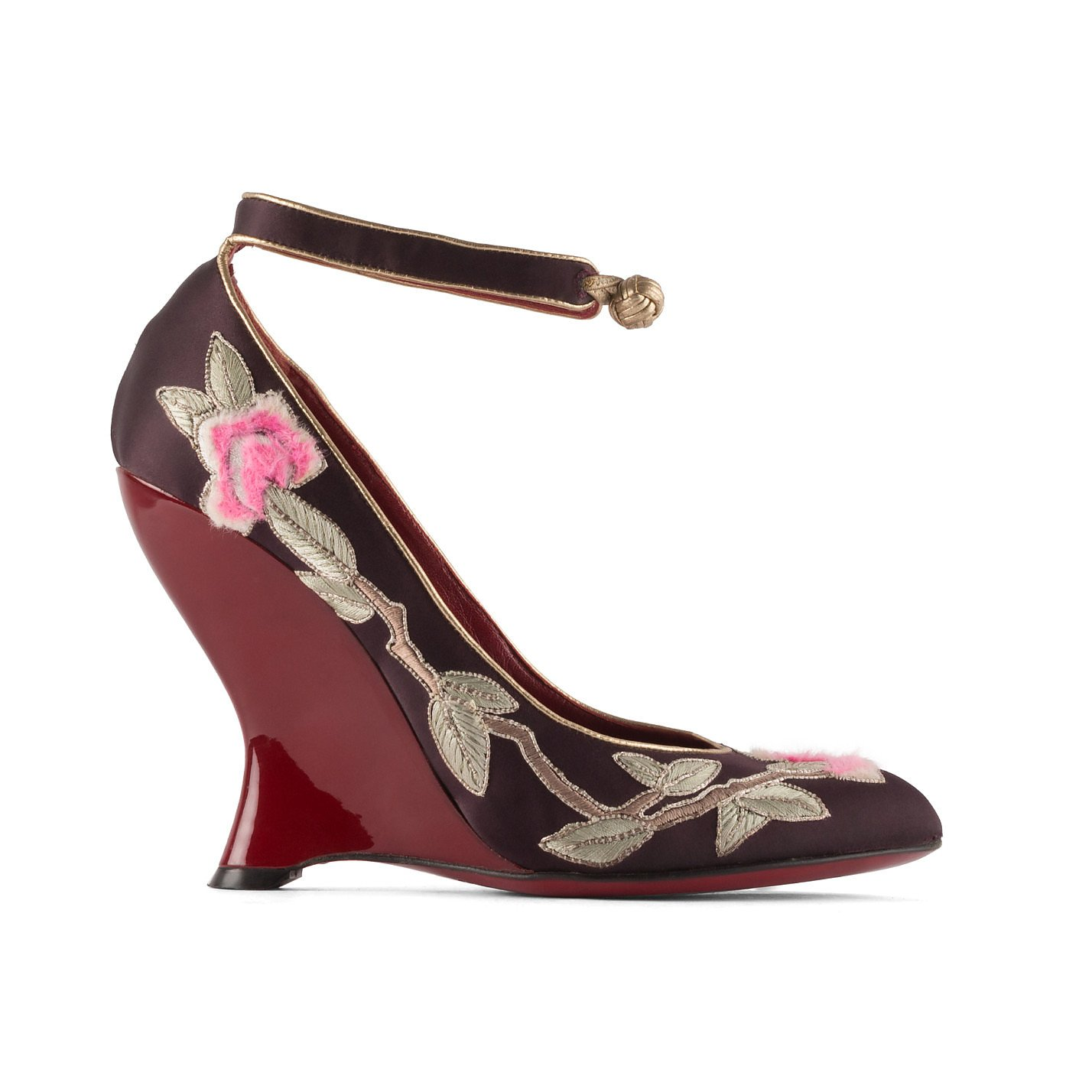 Yves Saint Laurent Embroidered Floral Wedges