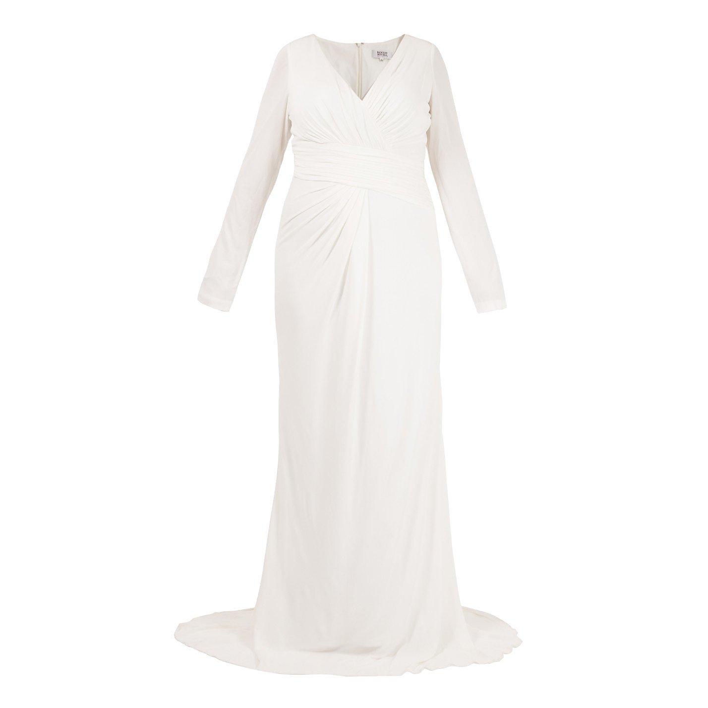 Badgley Mischka V-Neck Ruched Gown