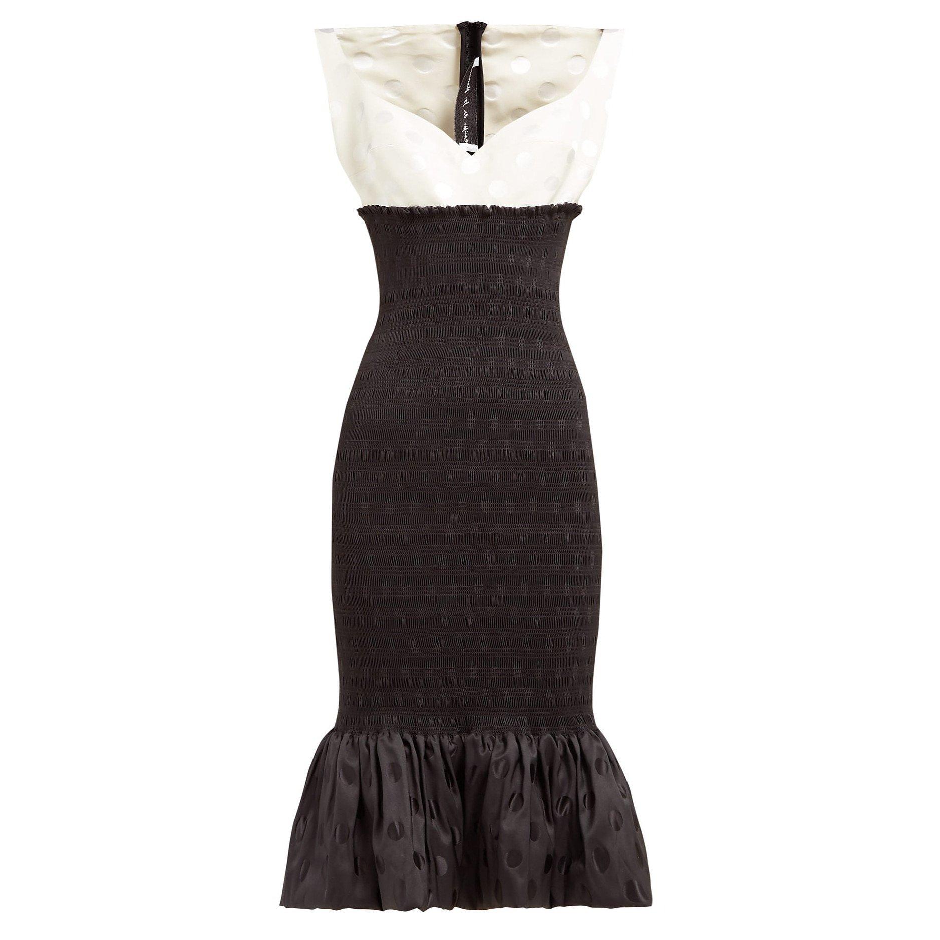 Emilio De La Morena Shirred Polka-Dot Jacquard Midi Dress