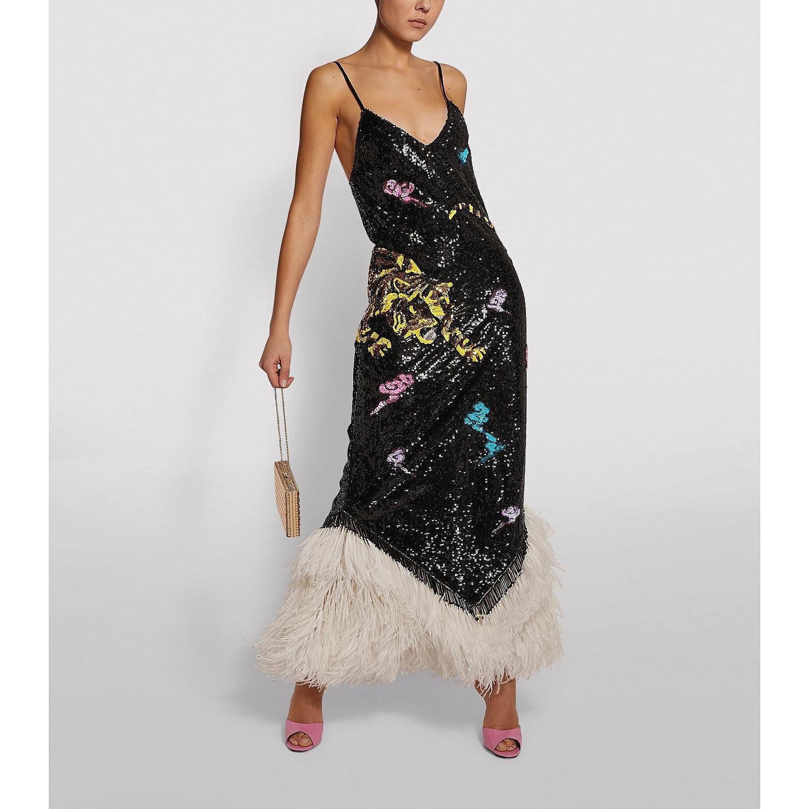 The Attico Ada Sequin Slip Dress