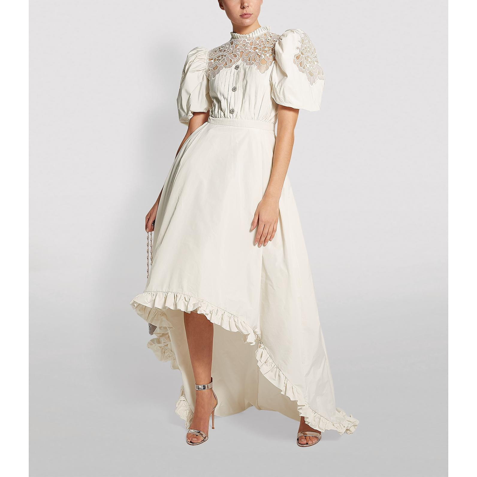 Alessandra Rich Lace Ruffle-Trim Dress