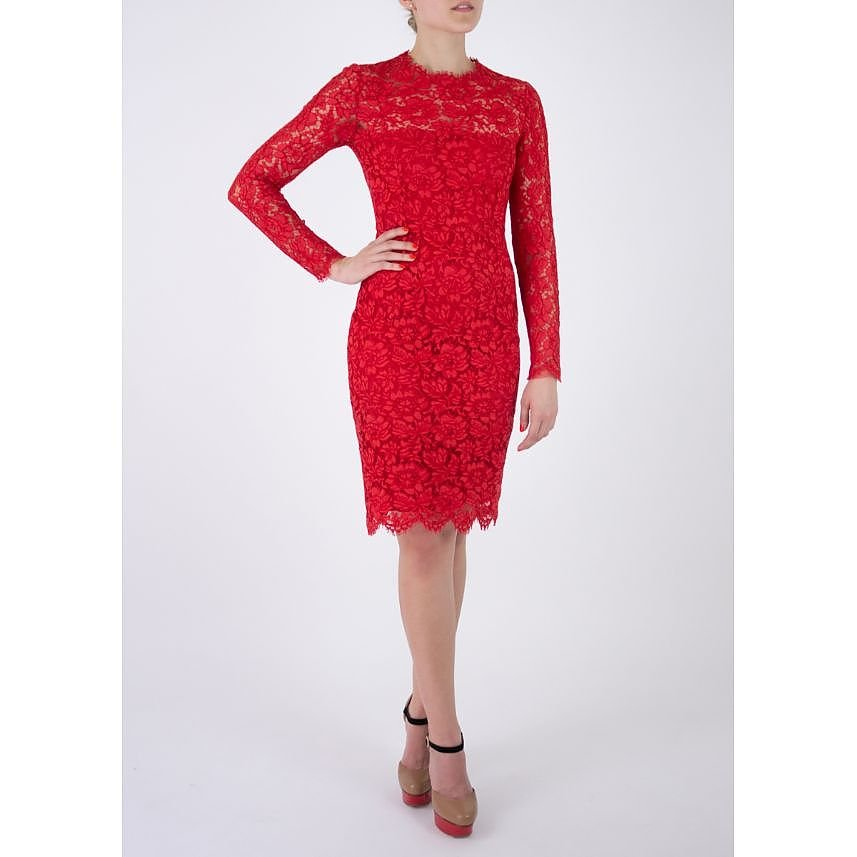 Valentino Long Sleeve Lace Dress