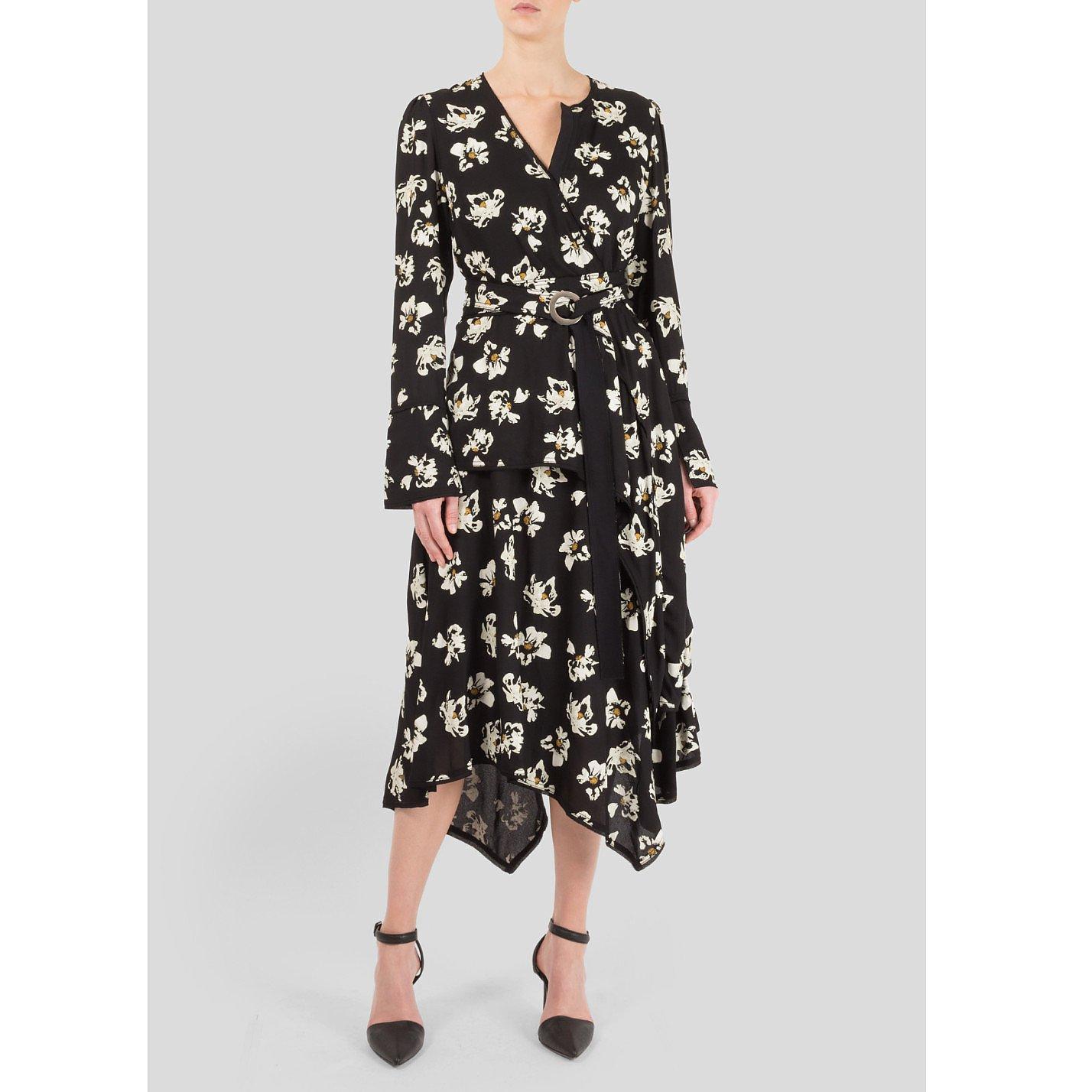 Proenza Schouler Wrap-Effect Printed Crepe Midi Dress