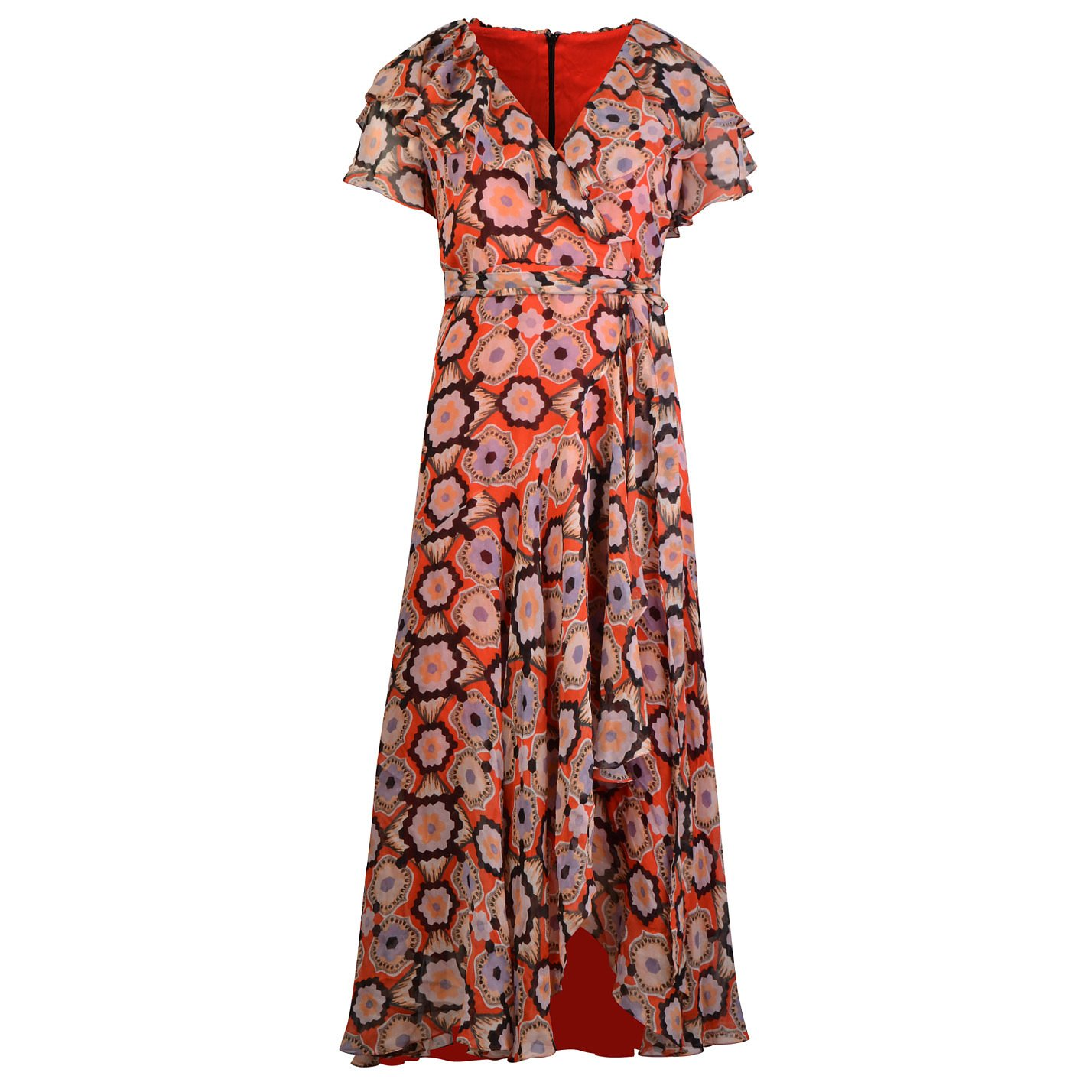 Vintage Printed Ruffle Wrap Dress