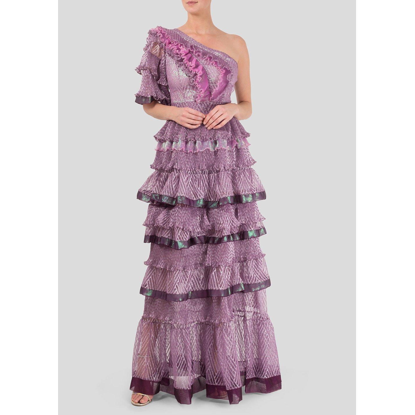 Bora Aksu One Shoulder Tiered Ruffle Gown