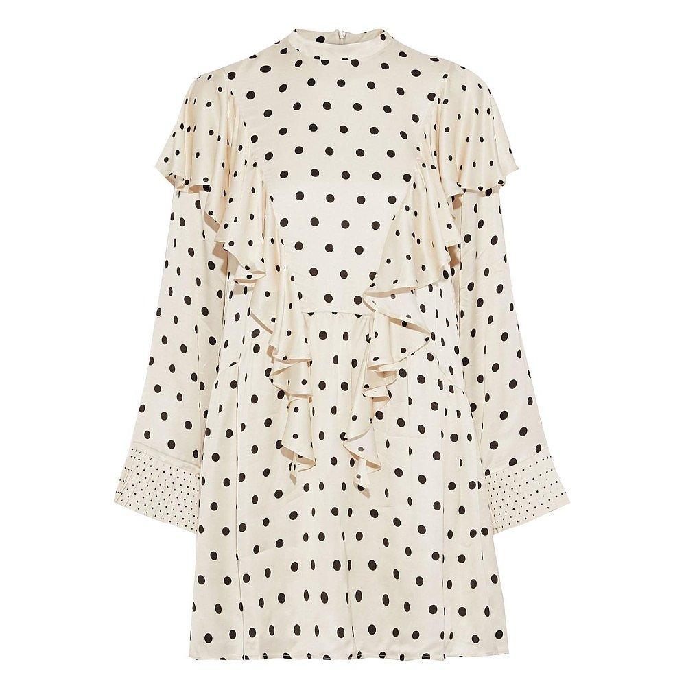 Mother of Pearl India Ruffled Polka-Dot Satin Mini Dress