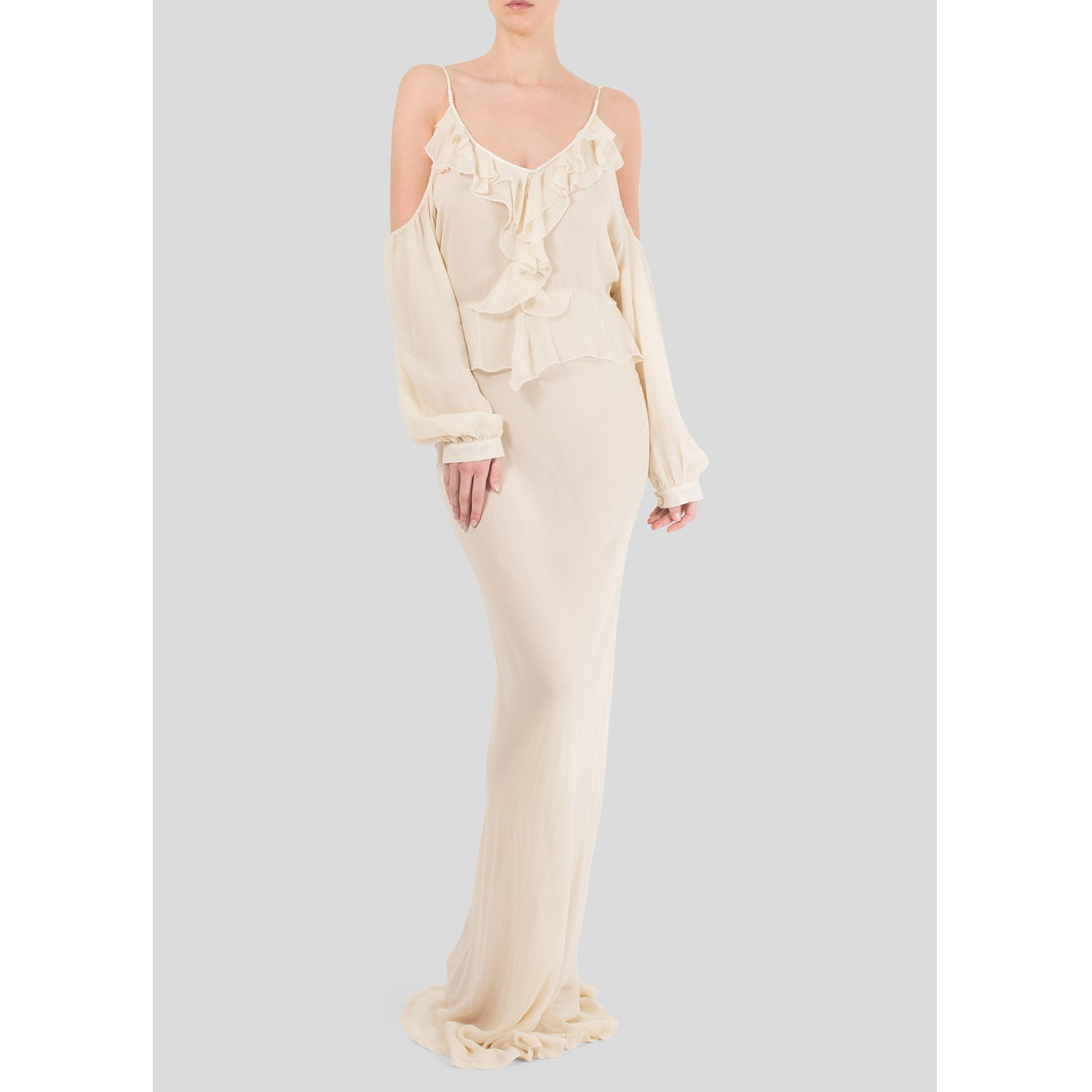 Flannel Temptress Cold Shoulder Maxi Dress