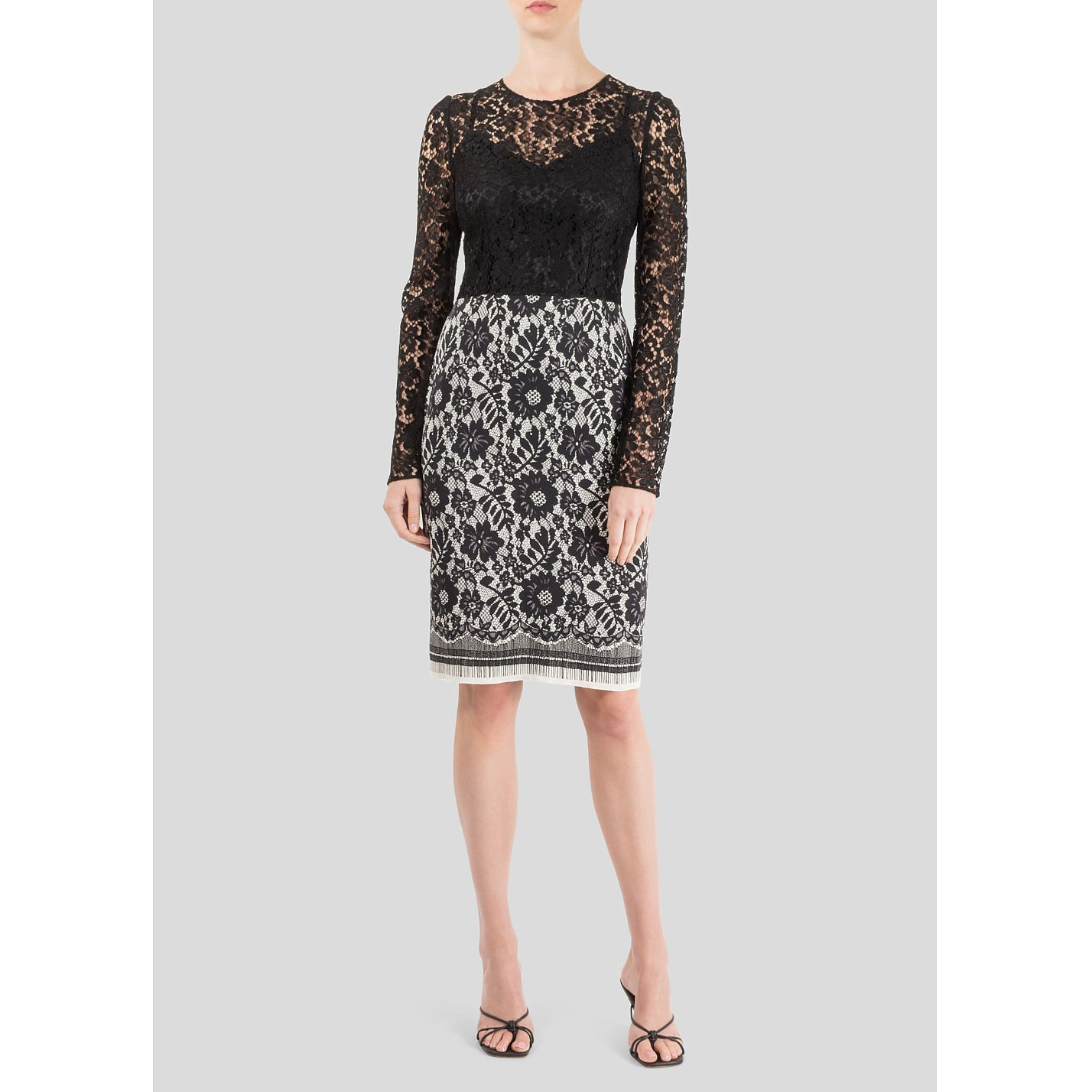 DOLCE & GABBANA Long Sleeve Monochrome Lace Dress