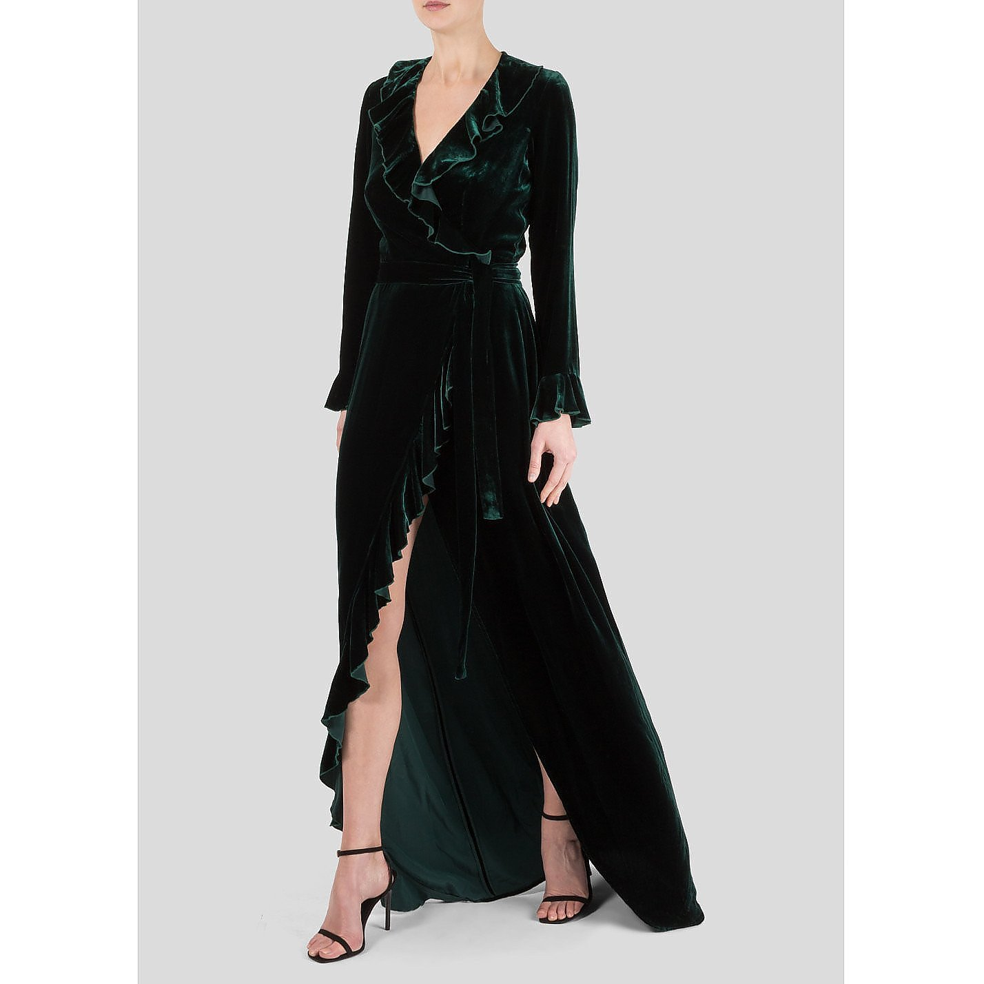 Dhela Velvet Ruffle Dress