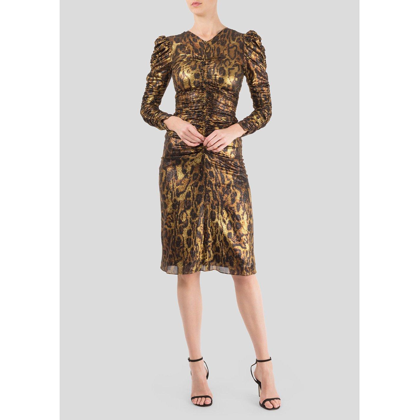 Isabel Marant Ruched Metallic Leopard Dress