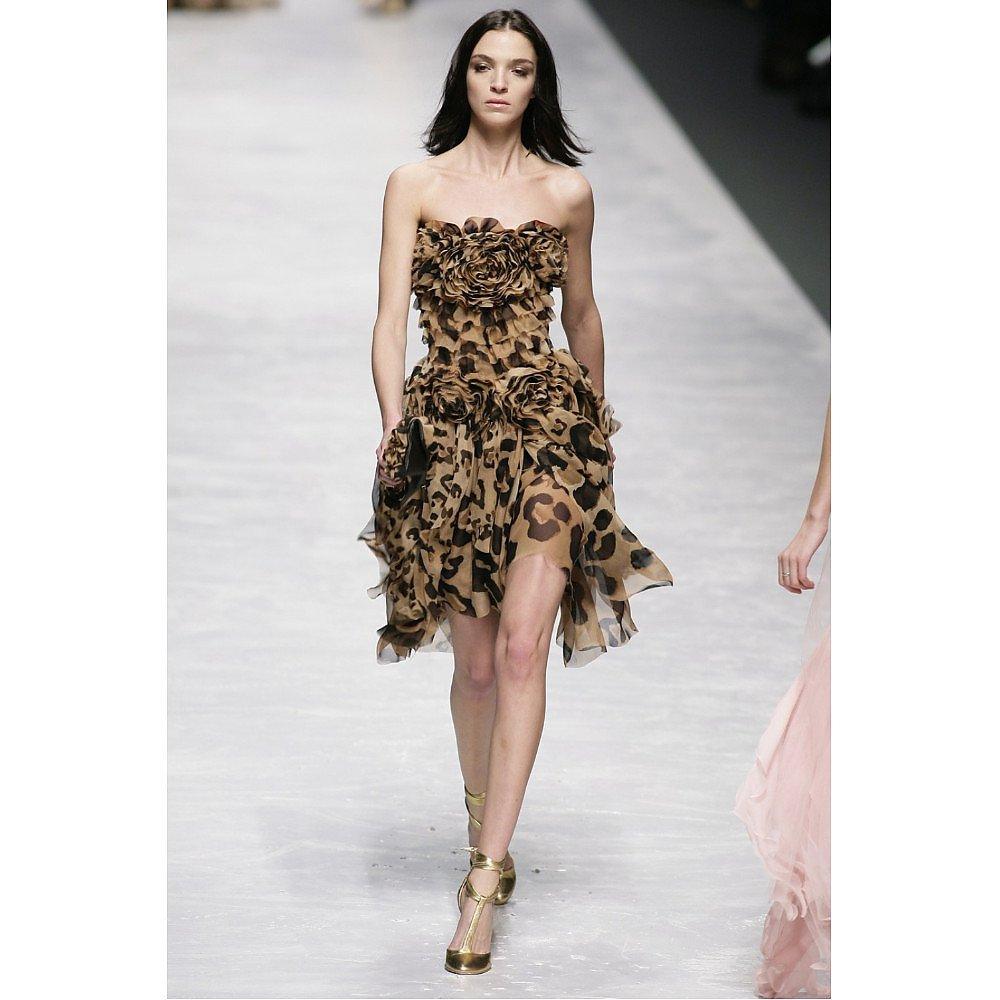 Blumarine Leopard Print Strapless Ruffle Dress