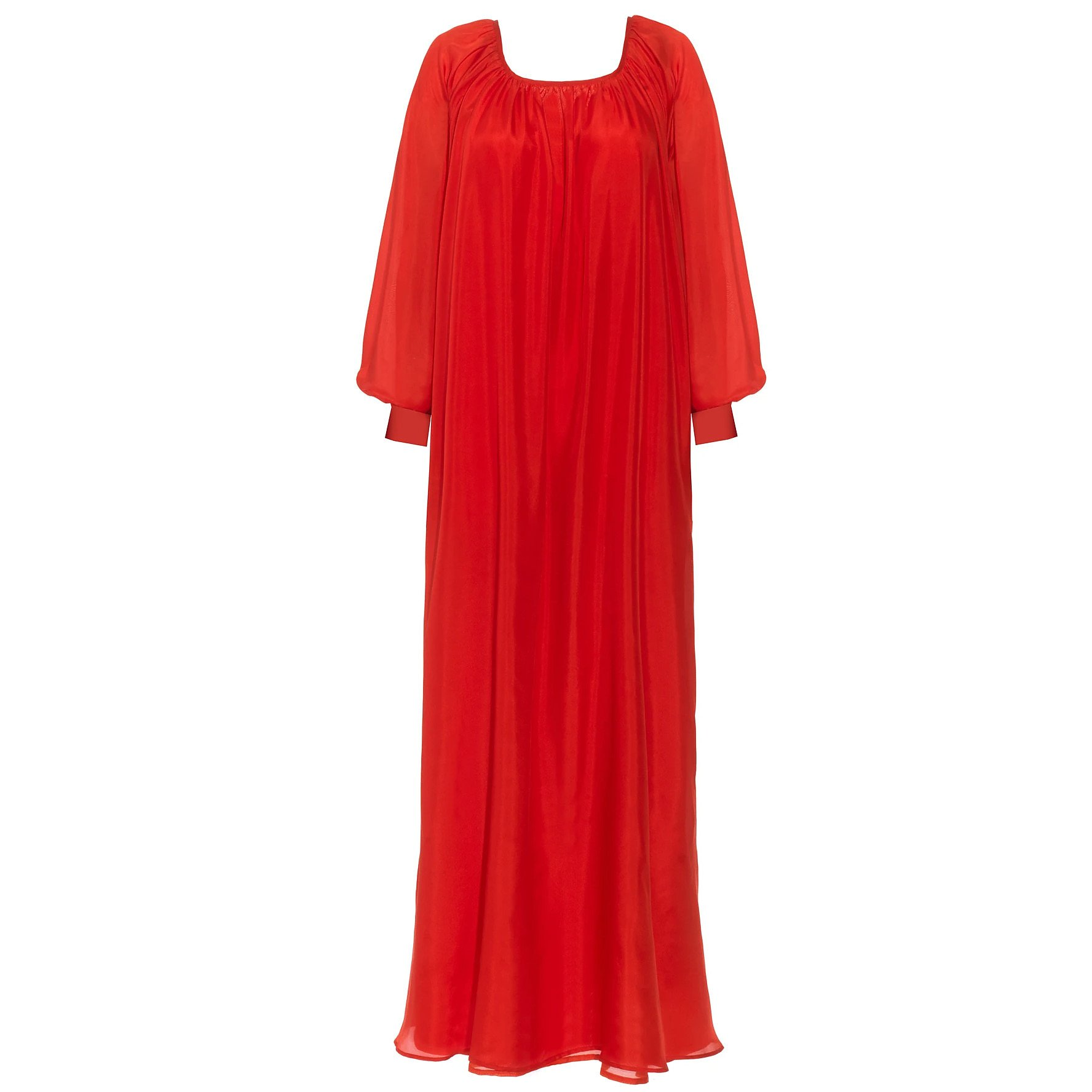 Lisou Red Long Sleeve Maxi Dress with Tie Cuffs