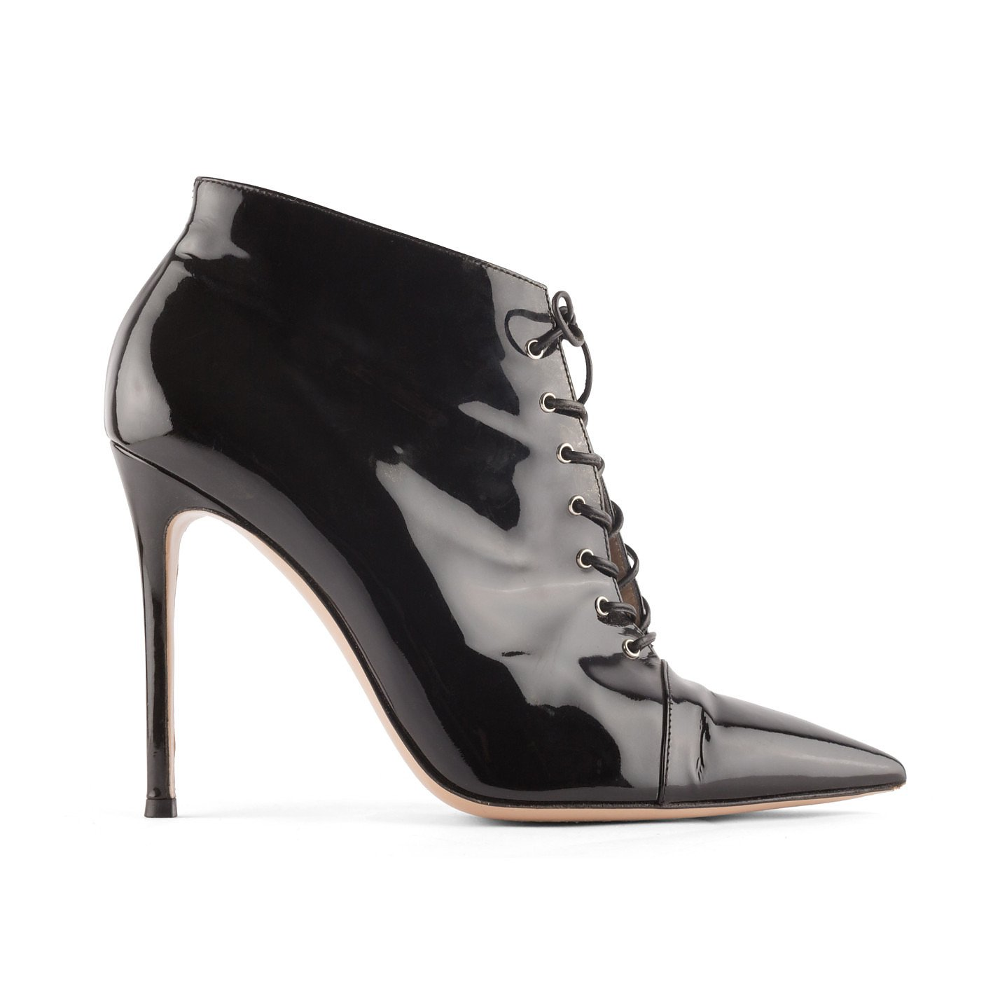 GIANVITO ROSSI Lace-Up Patent Ankle Boots