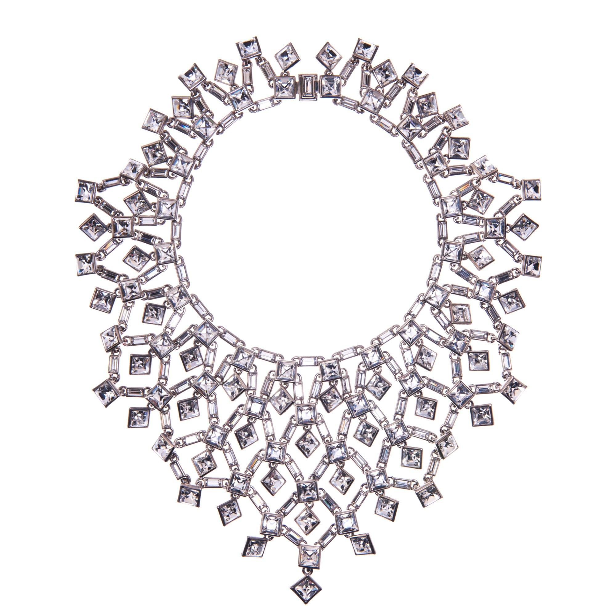Simon Harrison Claudette Square Crystal Cluster Large Necklace