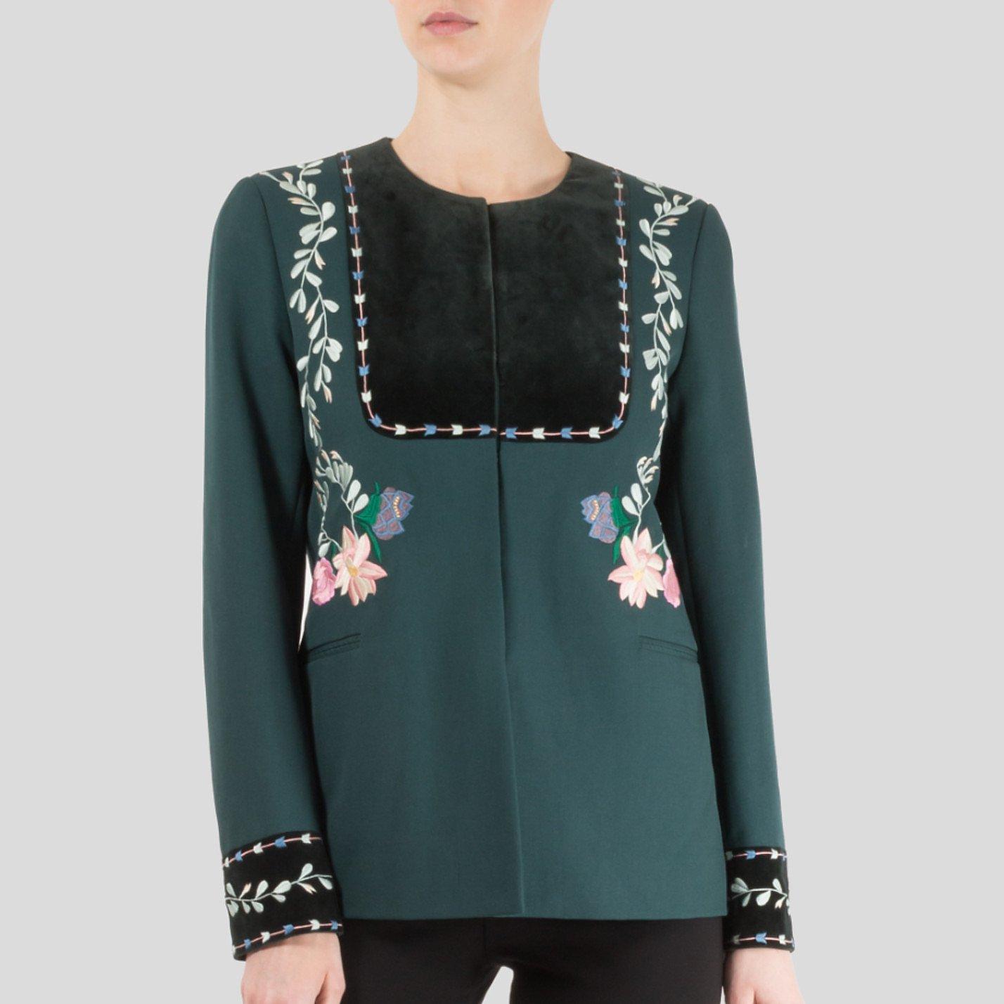 Vilshenko Rosie Embroidered Wool-Twill Jacket