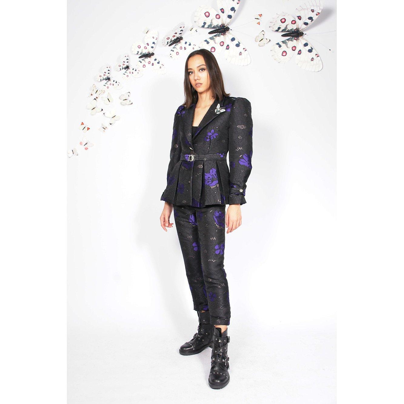 Syra J Puffed Sleeve Flower Print Blazer