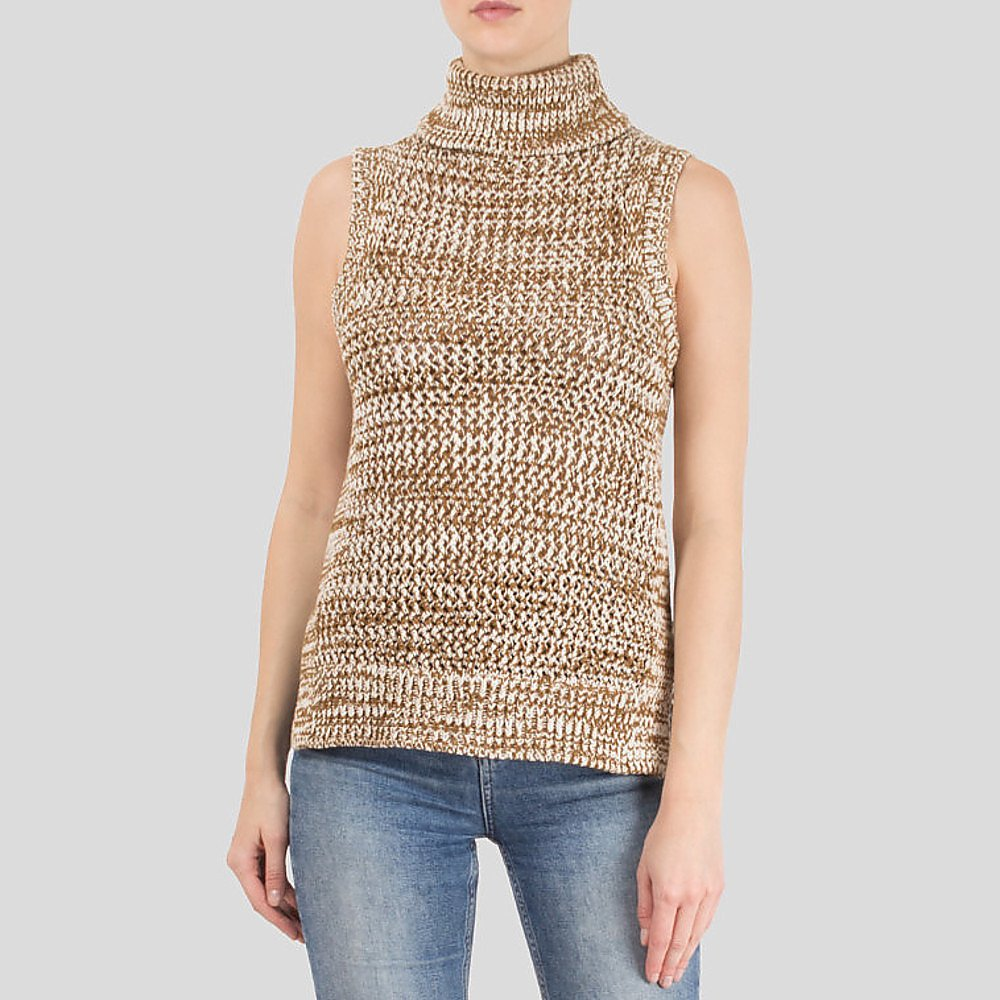 Derek Lam Open-Knit Sleeveless Turtleneck Sweater