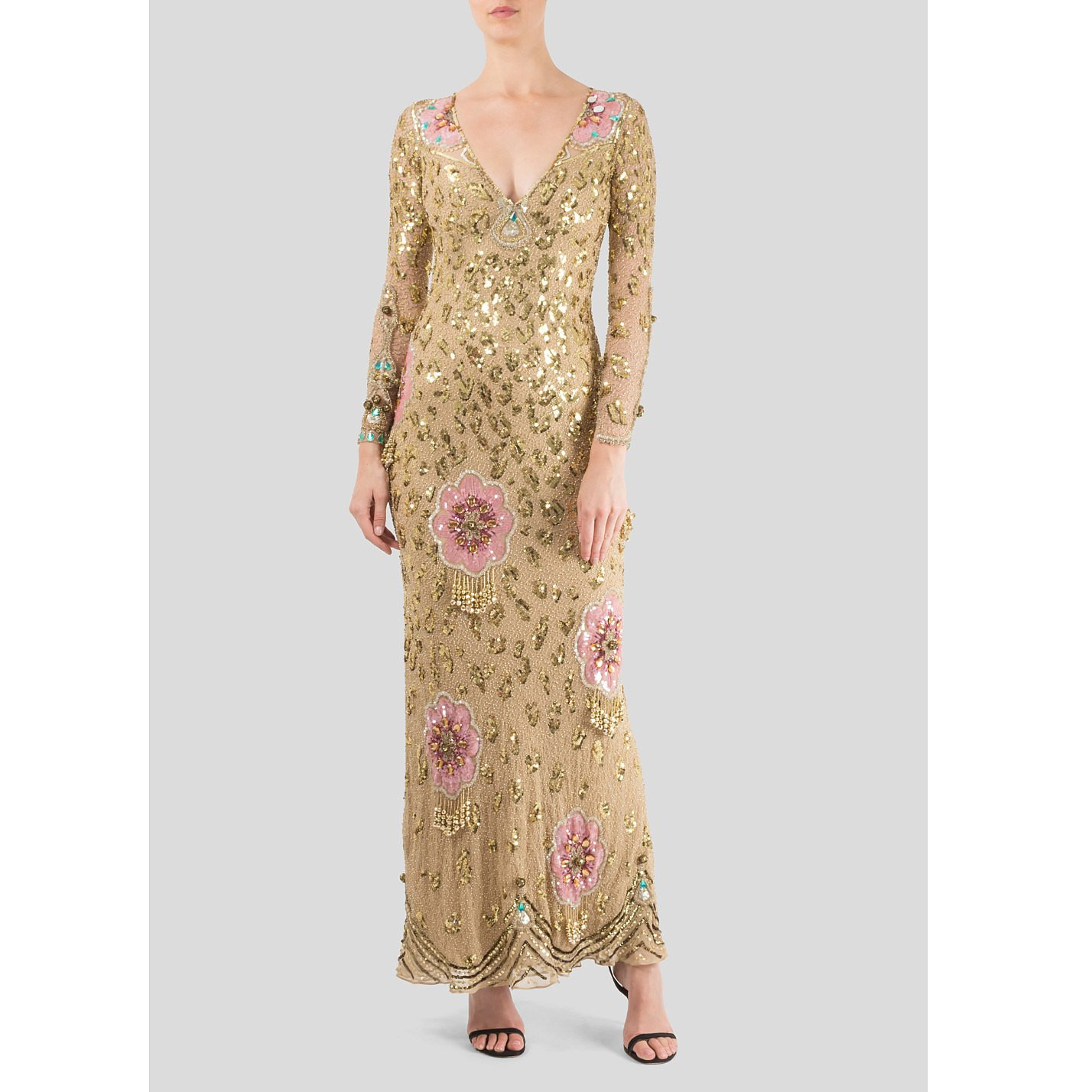 Jenny Packham Sequinned Floral Gown