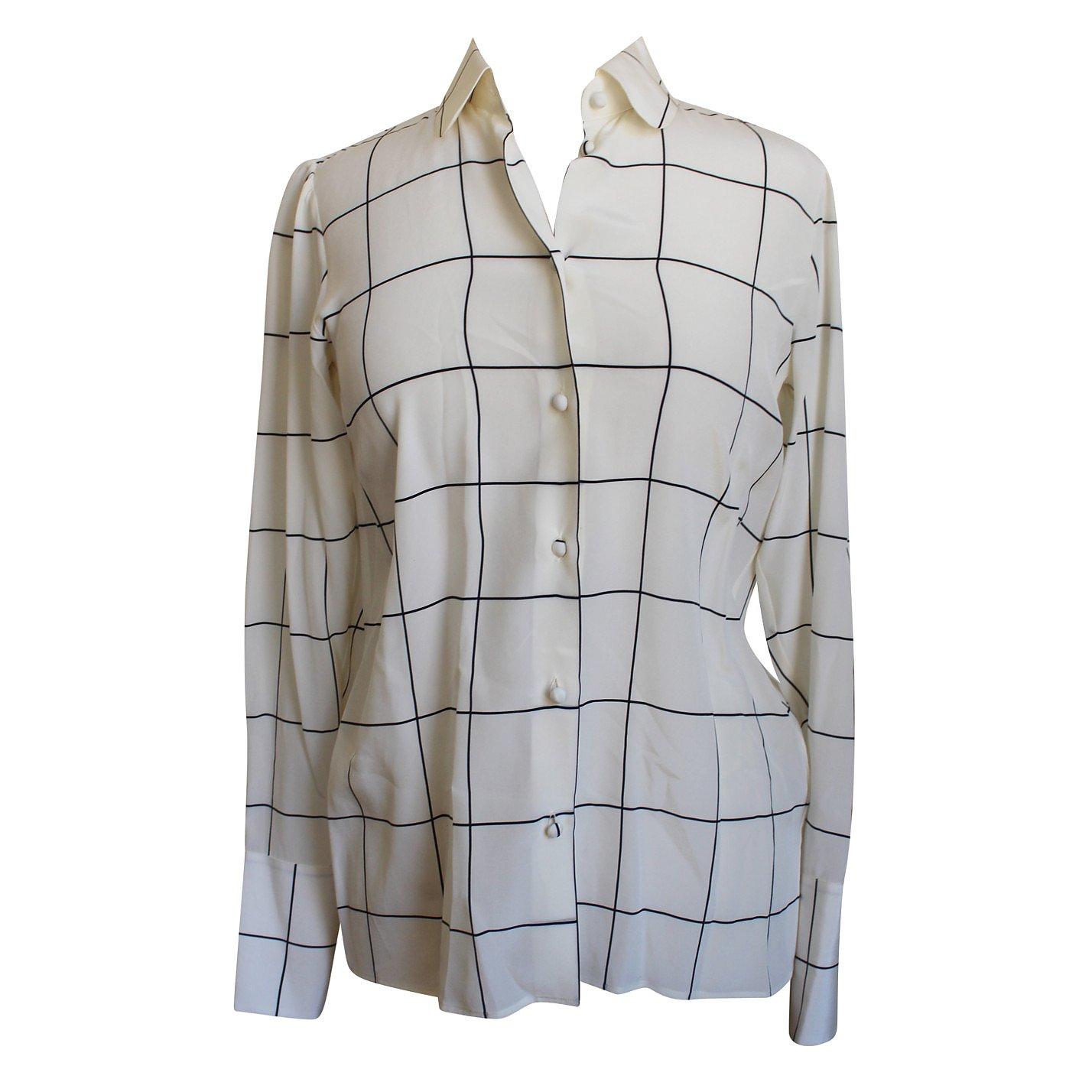Valentino Square Print Silk Shirt