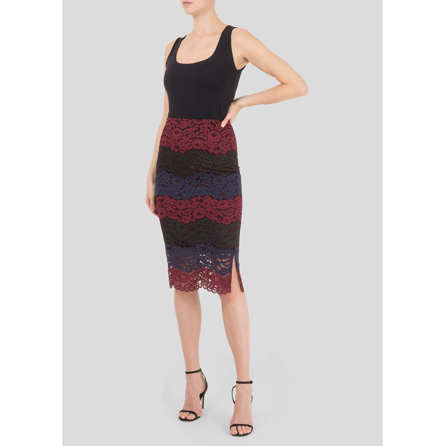Sandro Multi Tonal Lace Skirt