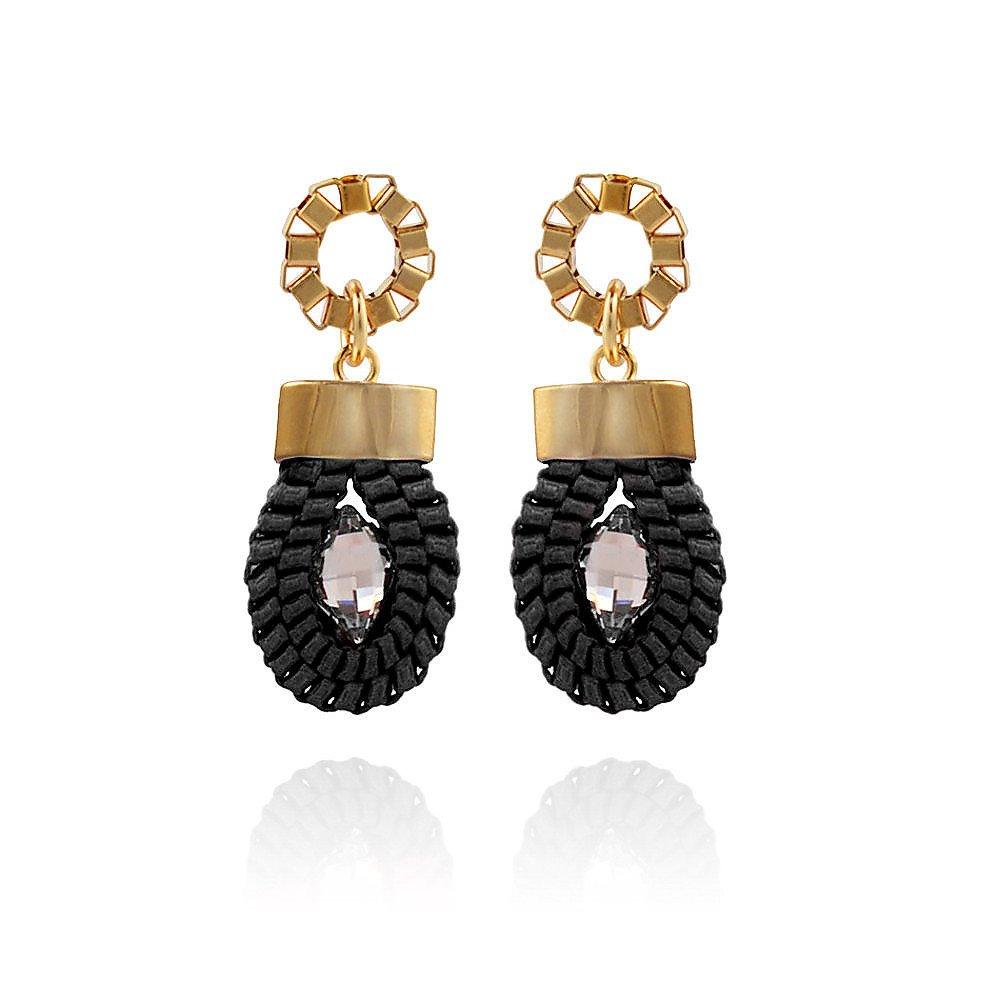John & Pearl Loop Earrings in Gold and Black