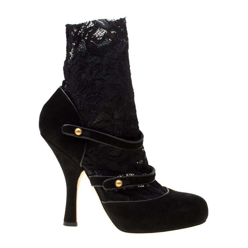 DOLCE & GABBANA Suede & Lace Mary Jane Pumps